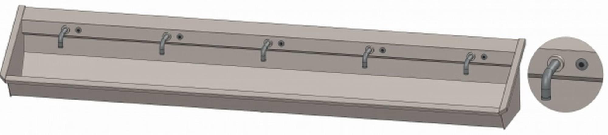 INTERSAN SANILAV wasgoot 300 cm. met 5 electronische kranen INOX 304 (105M13)