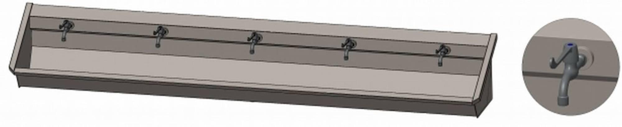 INTERSAN SANILAV wasgoot 300 cm. met 5 hendelkranen INOX 304 (105M4)