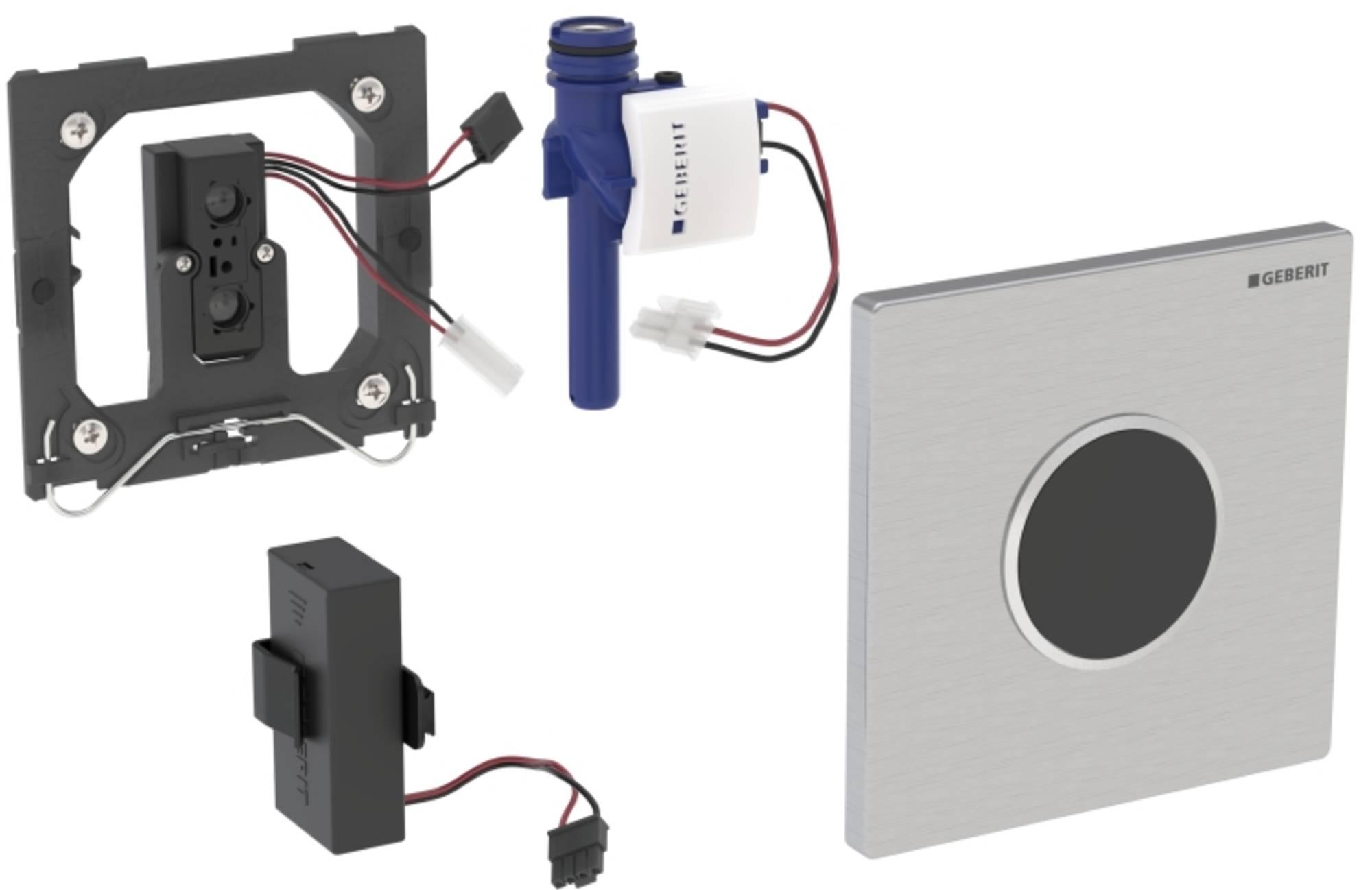 GEBERIT SIGMA10 bedieningsplaat infrarood batterij RVS GEBORSTELD (116035SN1)