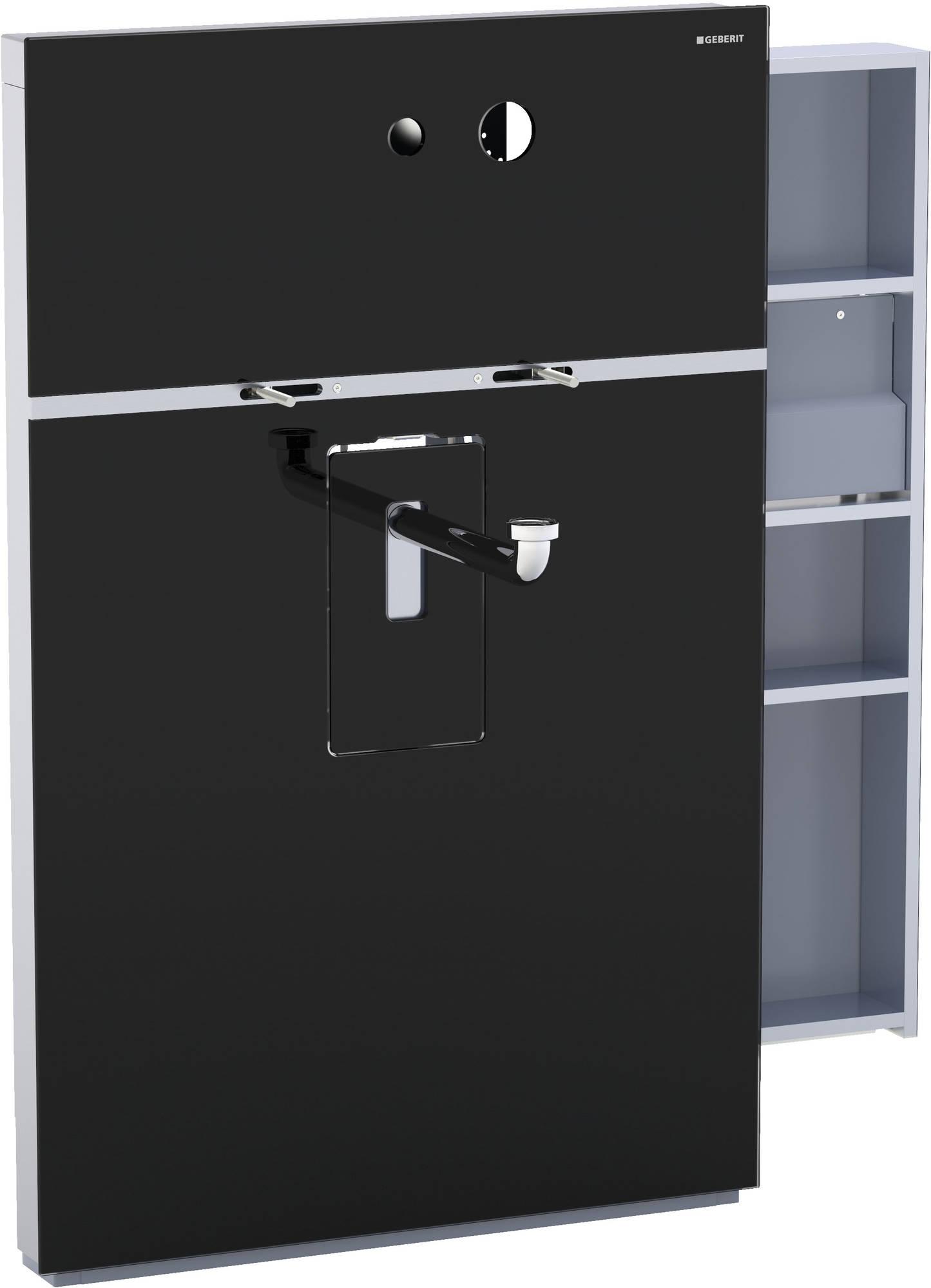 Geberit Monolith wastafelelement wandkraan 10-11 cm, kast rechts, glas zwart-aluminium