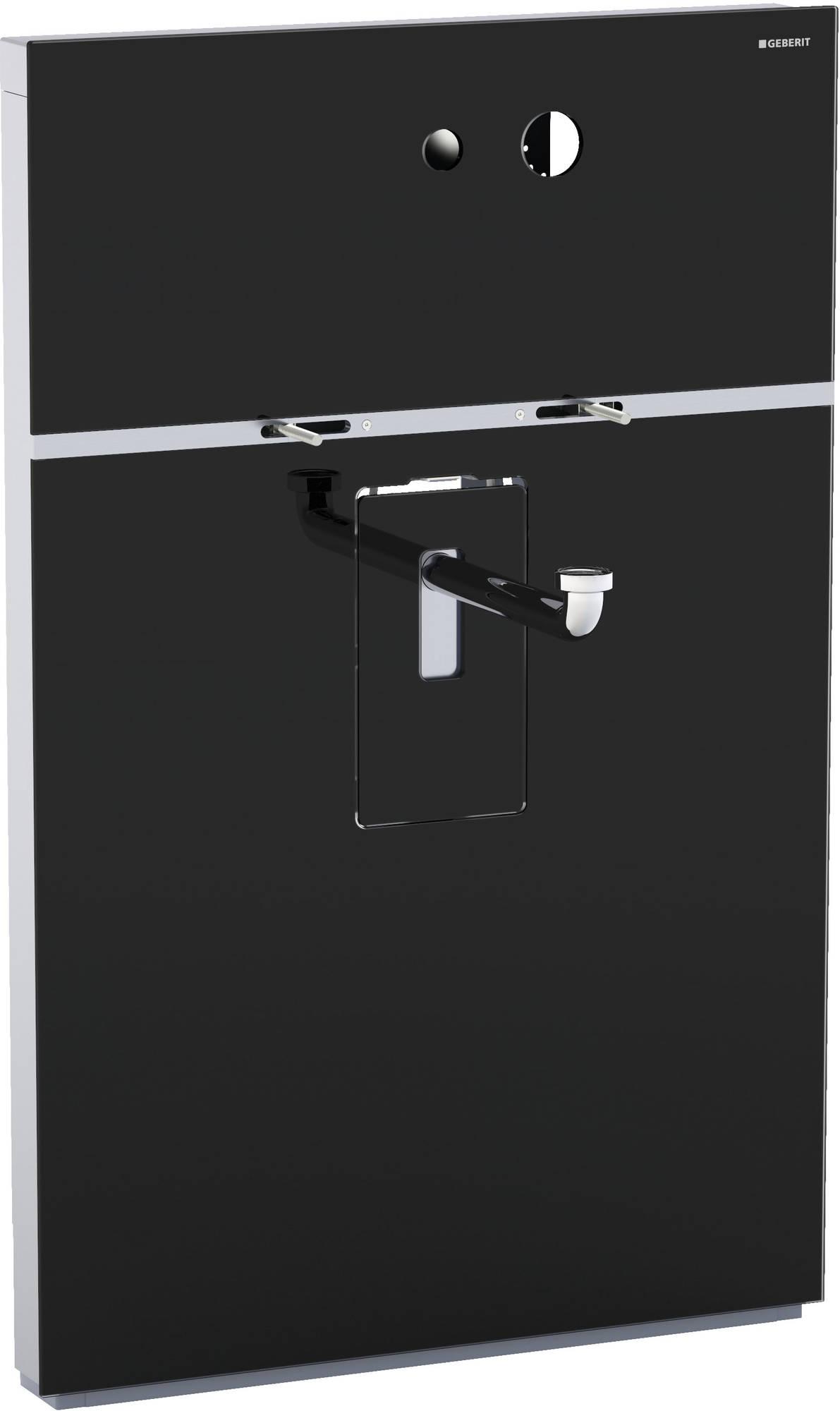 Geberit Monolith wastafelelement voor wandkraan 10-11 cm, glas zwart-aluminium