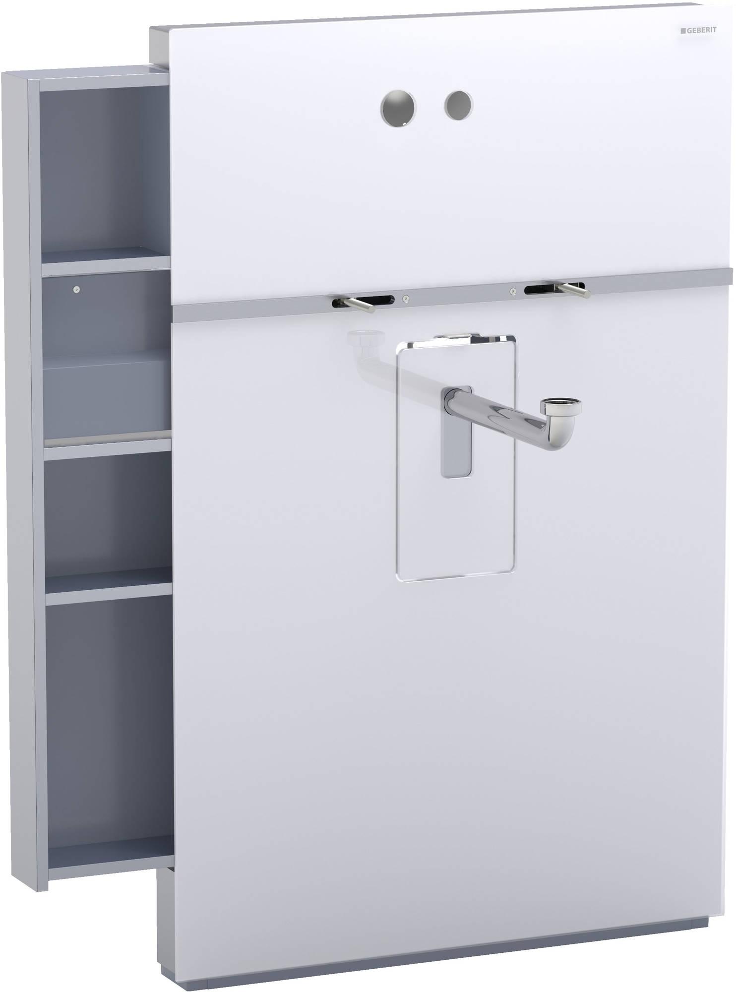 Geberit Monolith wastafelelement voor wandkraan 8 cm, kast links, glas wit-aluminium