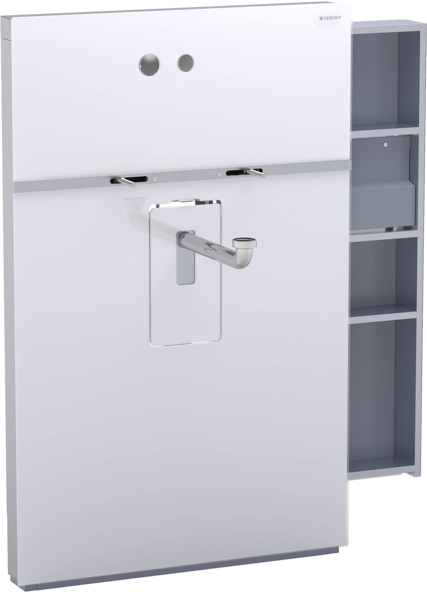 Geberit Monolith wastafelelement voor wandkraan 8 cm, kast rechts, glas wit-aluminium