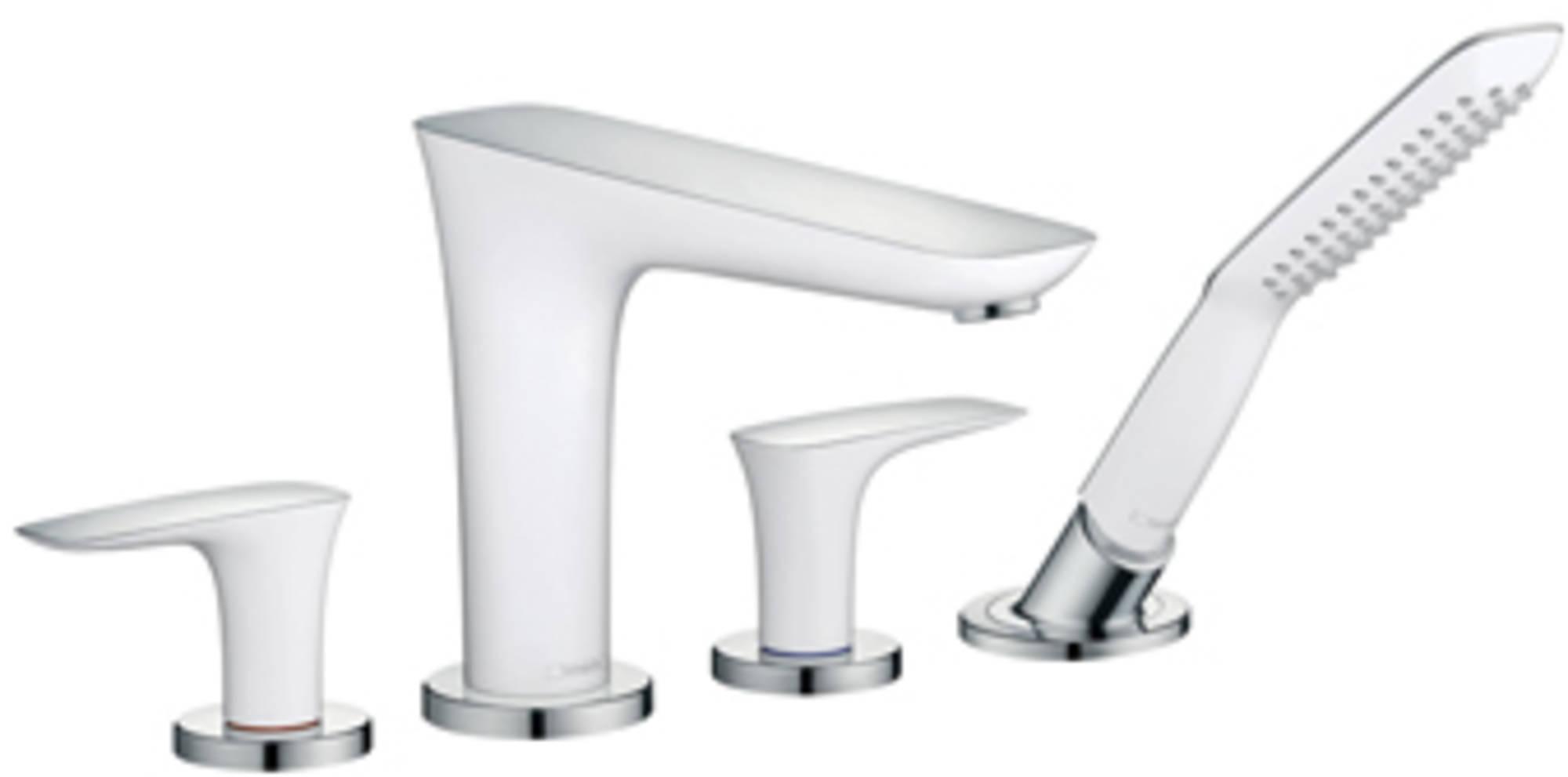 Hansgrohe Puravida afbouwdeel badrand inbouw 4-gats badrandmengkraan chroom-wit 15446400