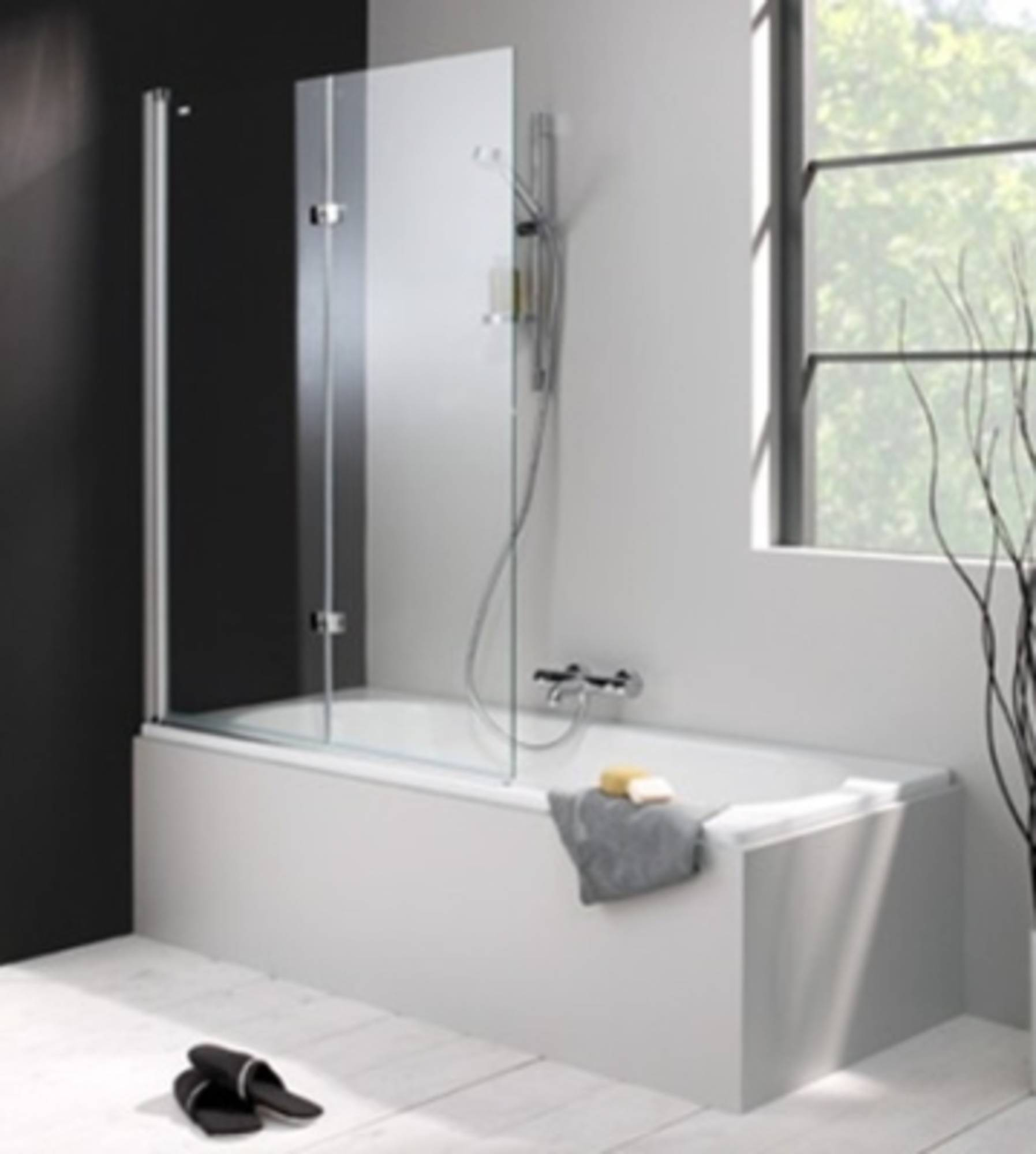 Huppe 501 Design badklapwand deur links 120x150 cm Matzilver-Helder Glas
