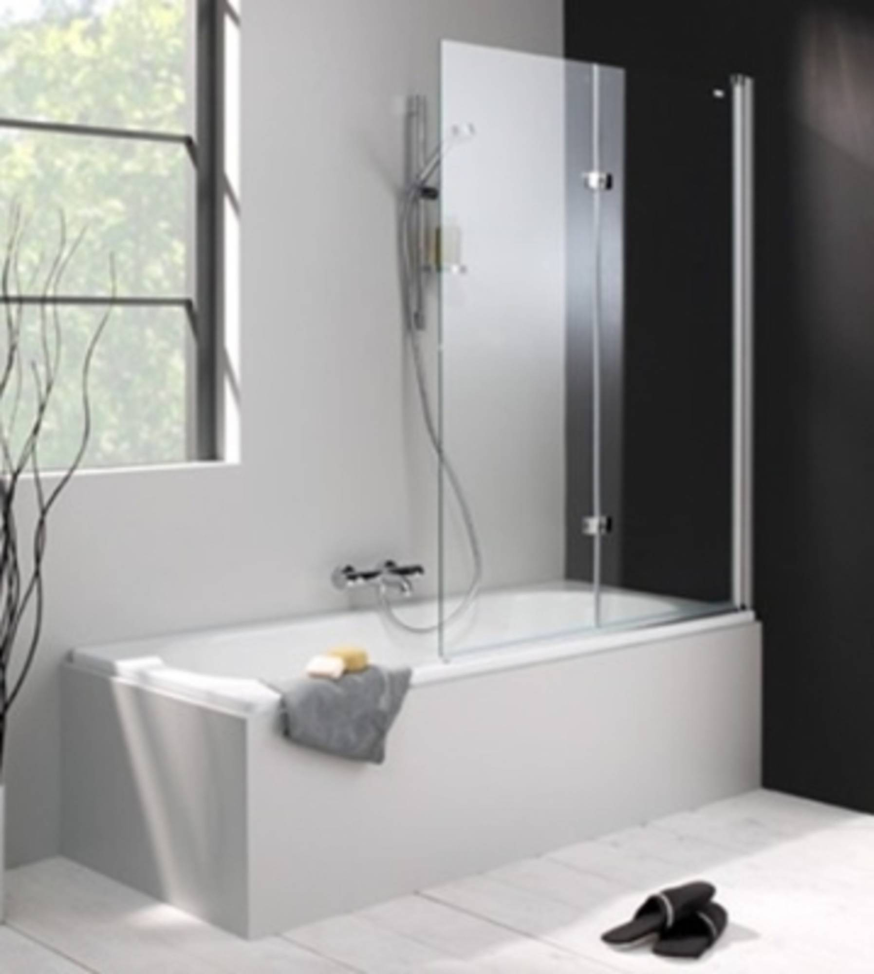 Huppe 501 Design badklapwand deur rechts 120x150 cm Matzilver-Helder Glas