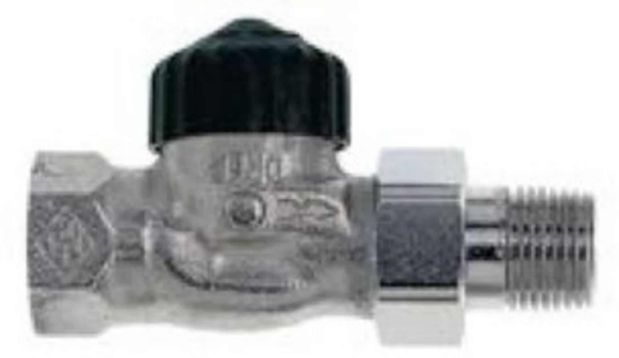 Heimeier radiatorafsluiter recht 1/2 inch Vernikkeld