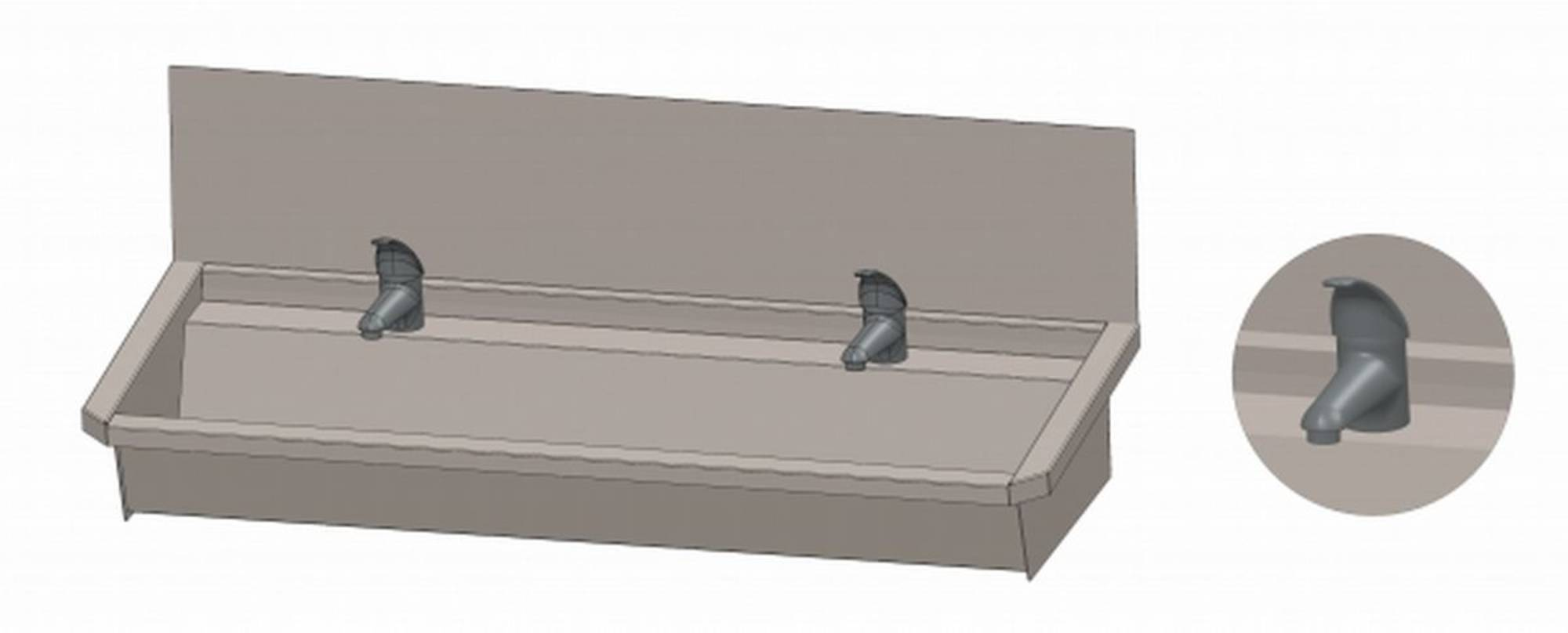 INTERSAN SANILAV wasgoot met spatbord 120 cm. met 2 1-greeps kranen INOX 304 (302L4)