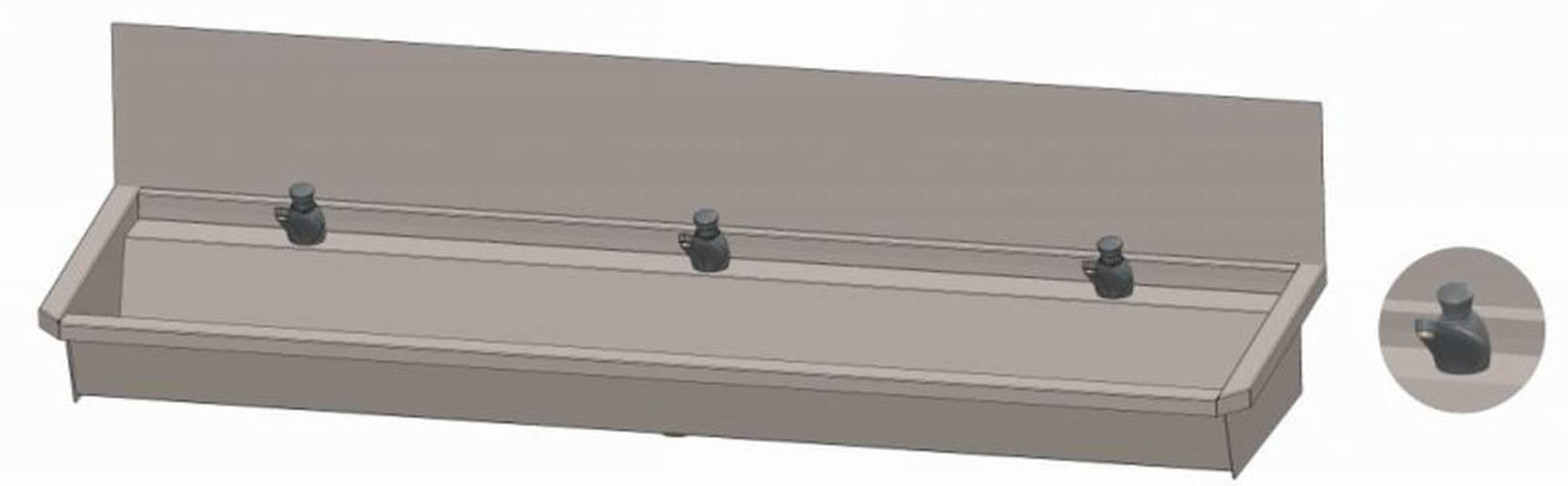 INTERSAN SANILAV wasgoot met spatbord 180 cm. met 3 zelfsl.kranen INOX 304 (303L3)