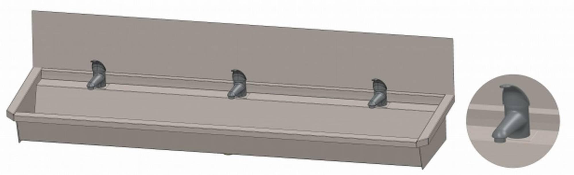 INTERSAN SANILAV wasgoot met spatbord 180 cm. met 3 1-greeps kranen INOX 304 (303L4)