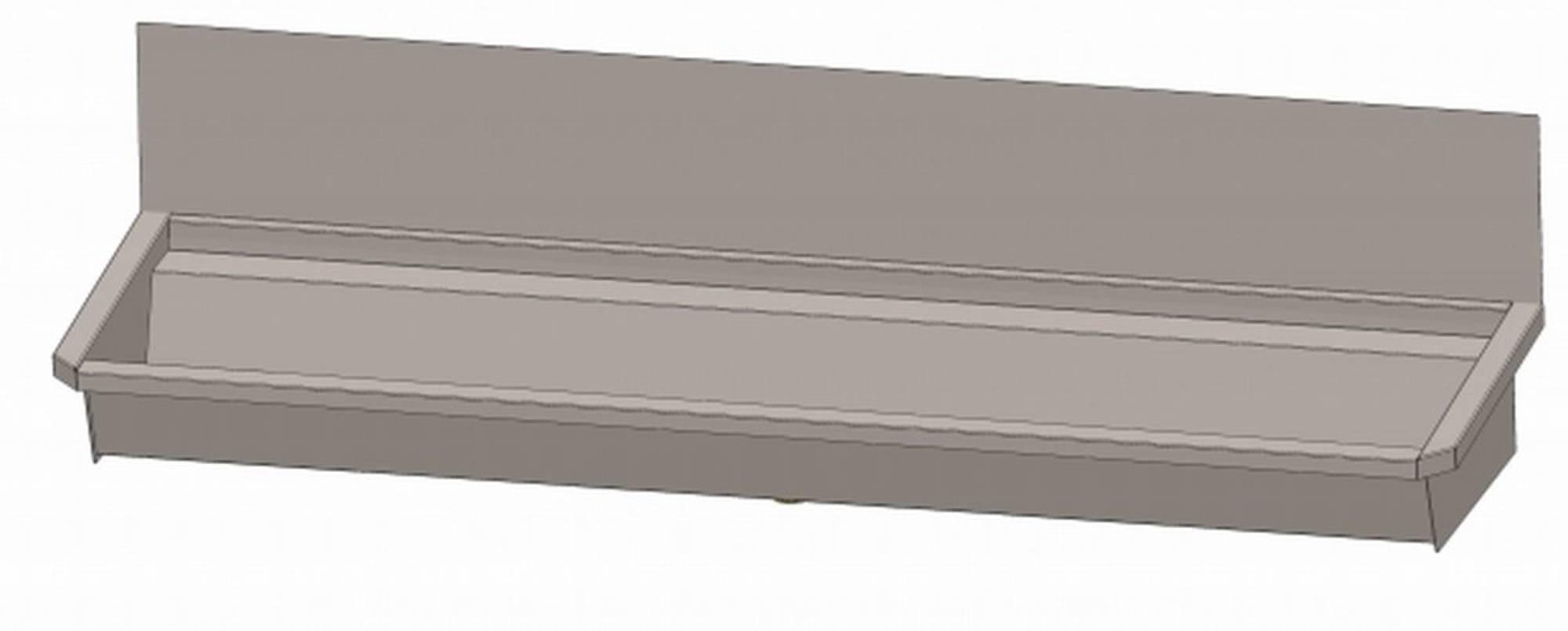 INTERSAN SANILAV wasgoot met spatbord 180 cm.3 pers. zonder leiding INOX 304 (303Z1)