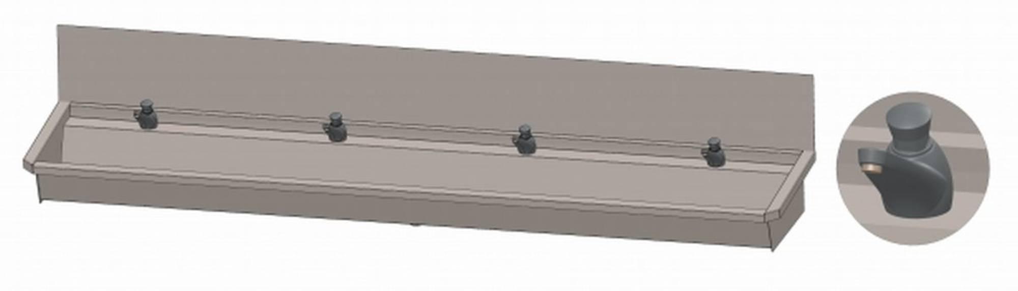 INTERSAN SANILAV wasgoot met spatbord 240 cm. met 4 zelfsl.kranen INOX 304 (304L3)
