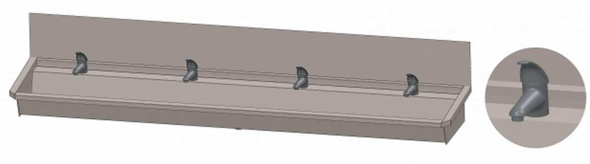 INTERSAN SANILAV wasgoot met spatbord 240 cm. met 4 1-greeps kranen INOX 304 (304L4)