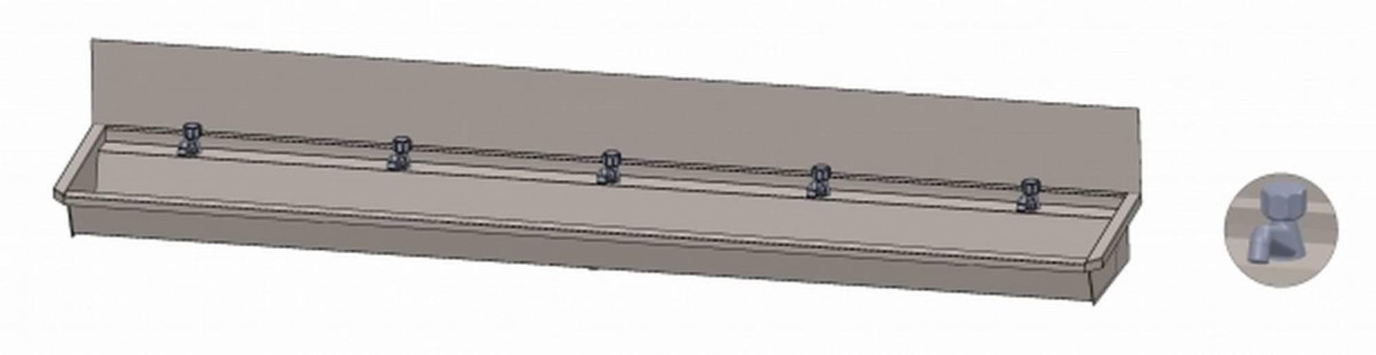 INTERSAN SANILAV wasgoot met spatbord 300 cm. met 5 kranen INOX 304 (305L1)