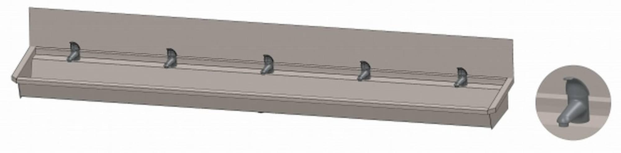 INTERSAN SANILAV wasgoot met spatbord 300 cm. met 5 1-greeps kranen INOX 304 (305L4)