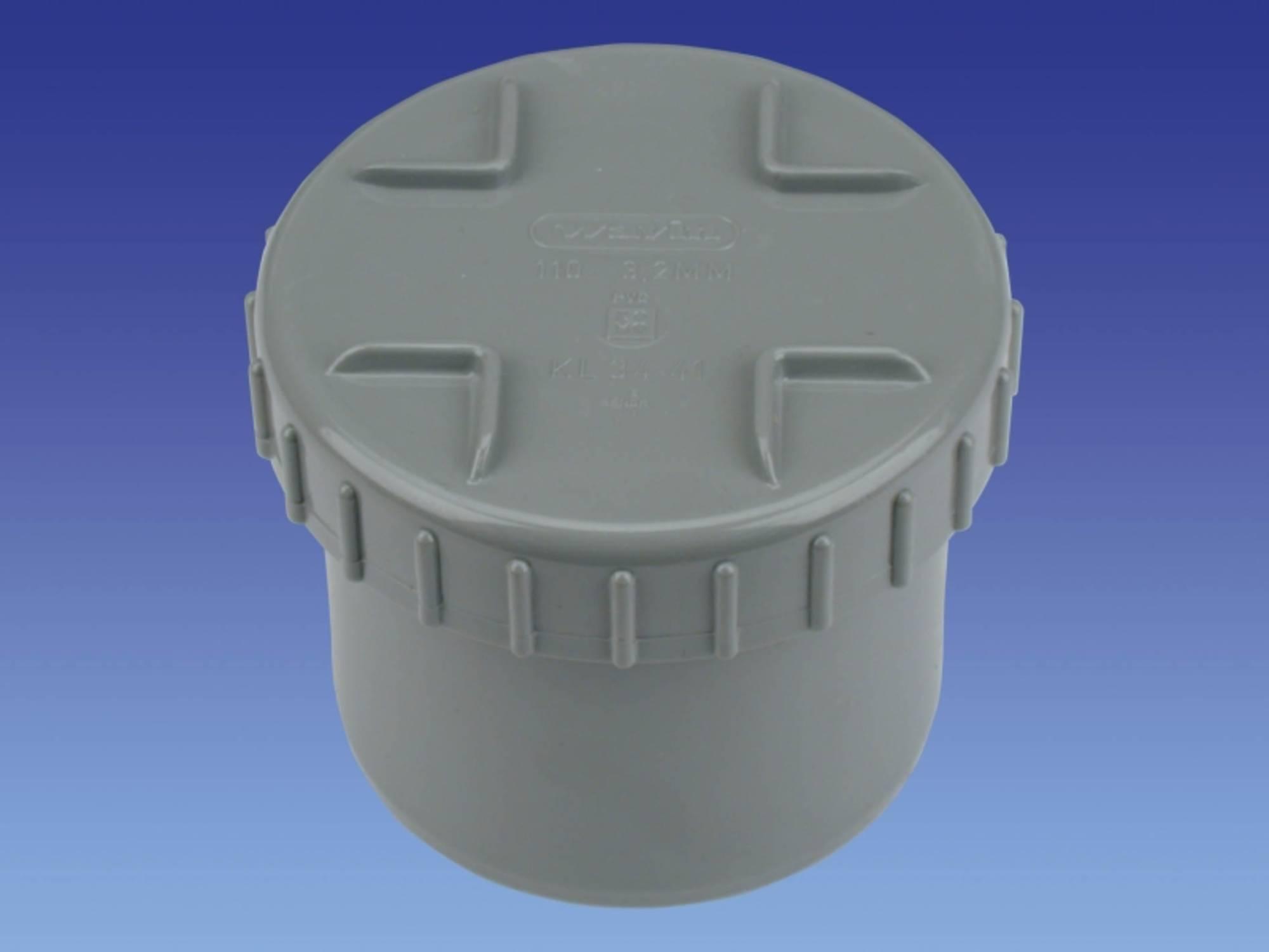 WAVIN WADAL eindstuk met schroefdeksel 110 mm. PVC (3105111001)