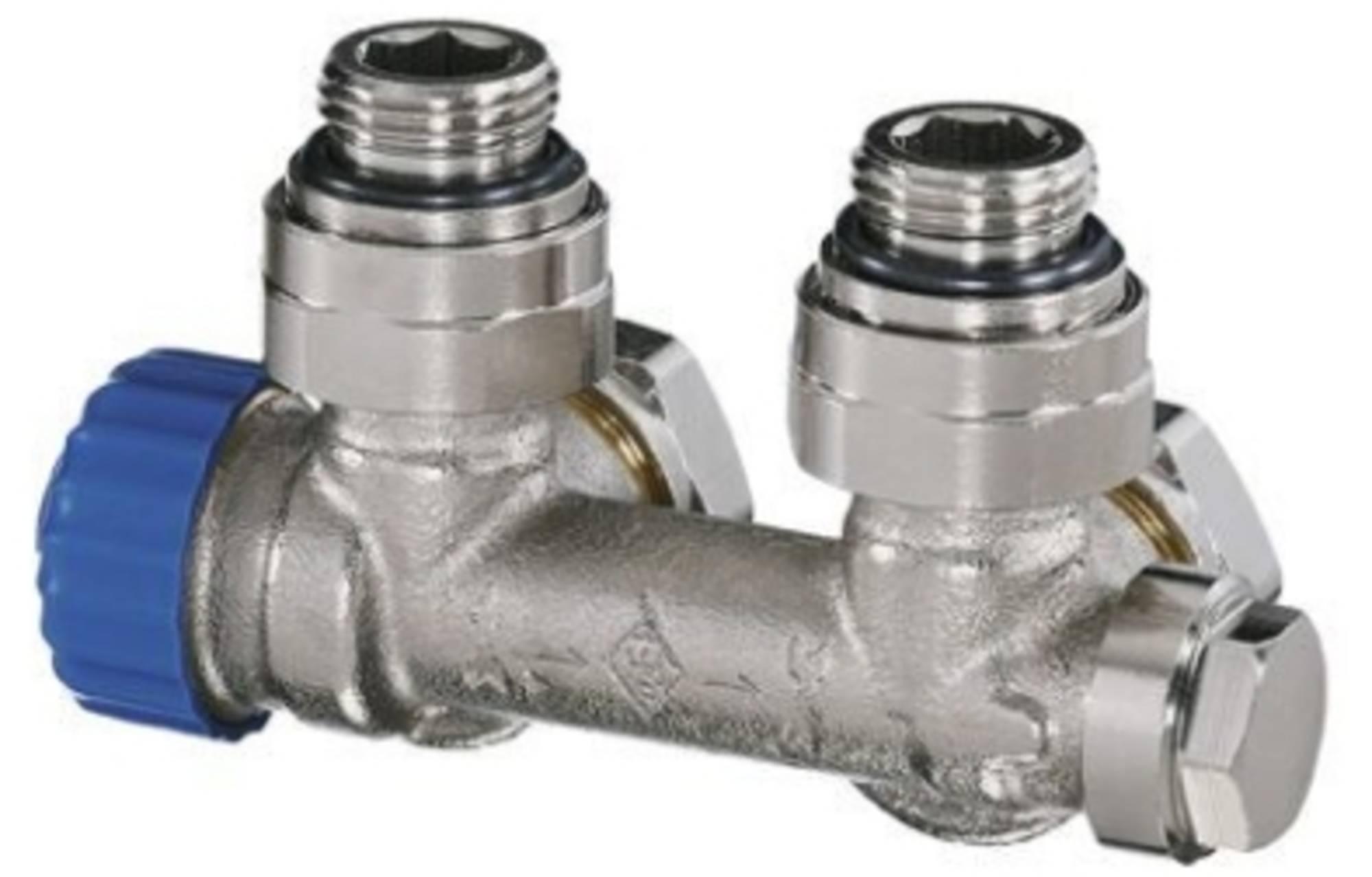 Heimeier Multilux 1-pijp onderblok 1/2 inch haaks z/thermostaatknop