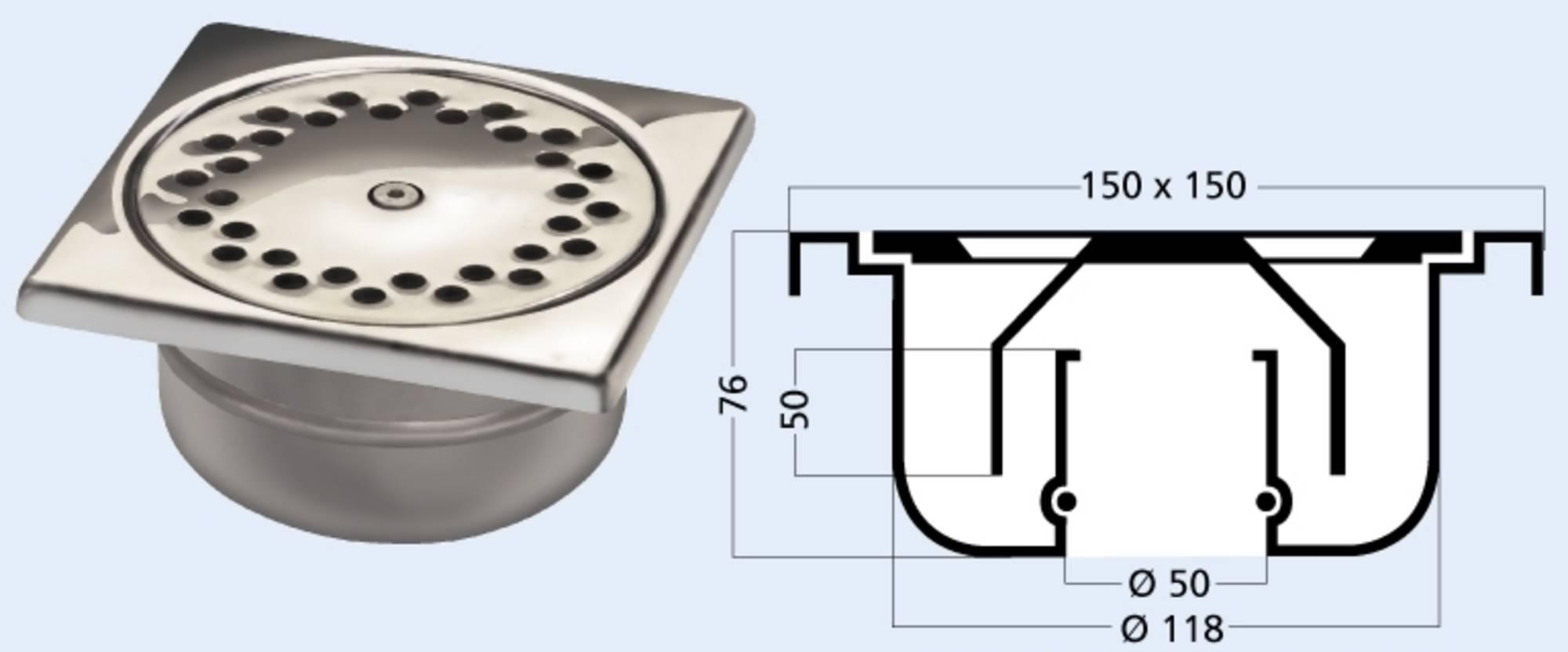 BERG VAN DEN vloerput 15x15 cm. met rvs rooster onderuitlaat (415V)