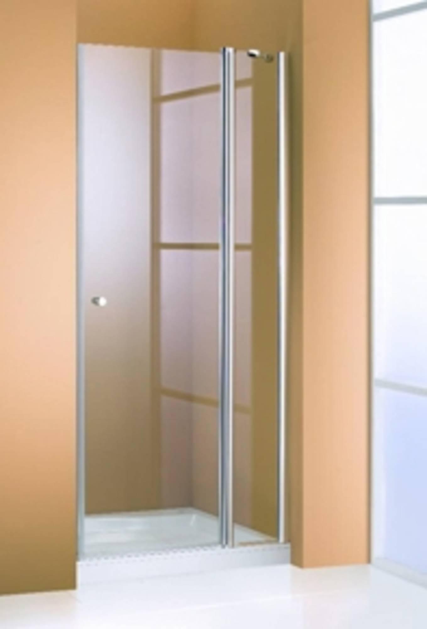 Huppe 501 design draaideur 100x190 met vaste segmenten, matzilver-helder glas