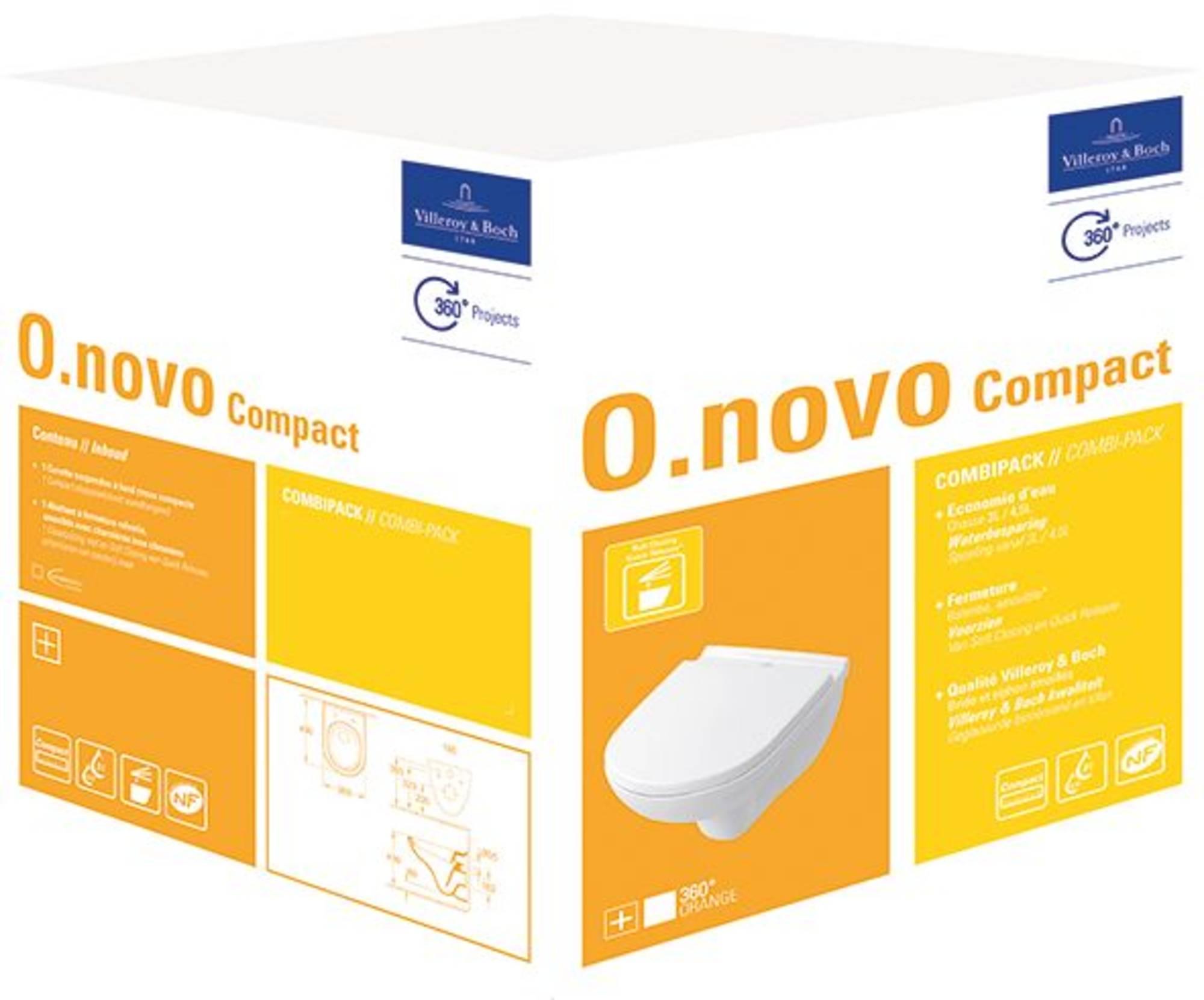 Villeroy & boch O.novo compact wandcloset met sc en qr closetzitting, wit