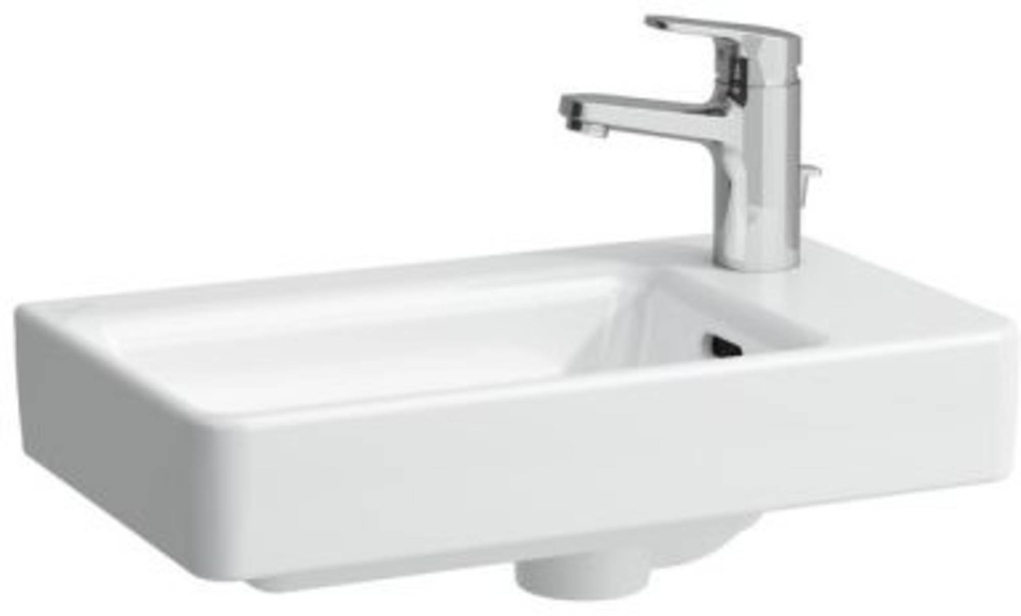 Laufen Pro S fontein 48x28 asymetrisch rechts 1xkrgtm/overl Wit
