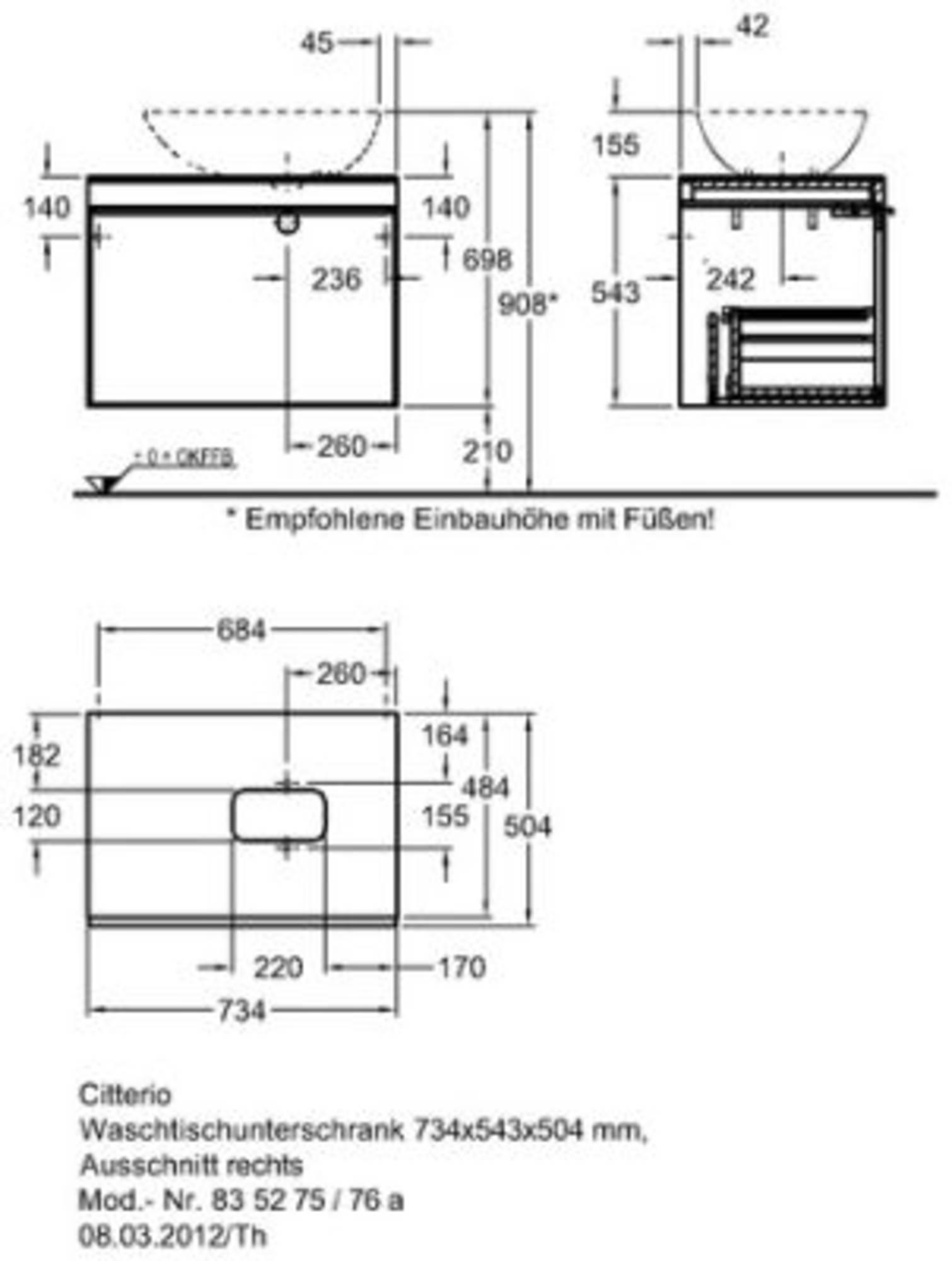 Keramag Citterio onderkast 73,4cmm/glasplaat taupe front sifli/re Eiken Natuurbeige