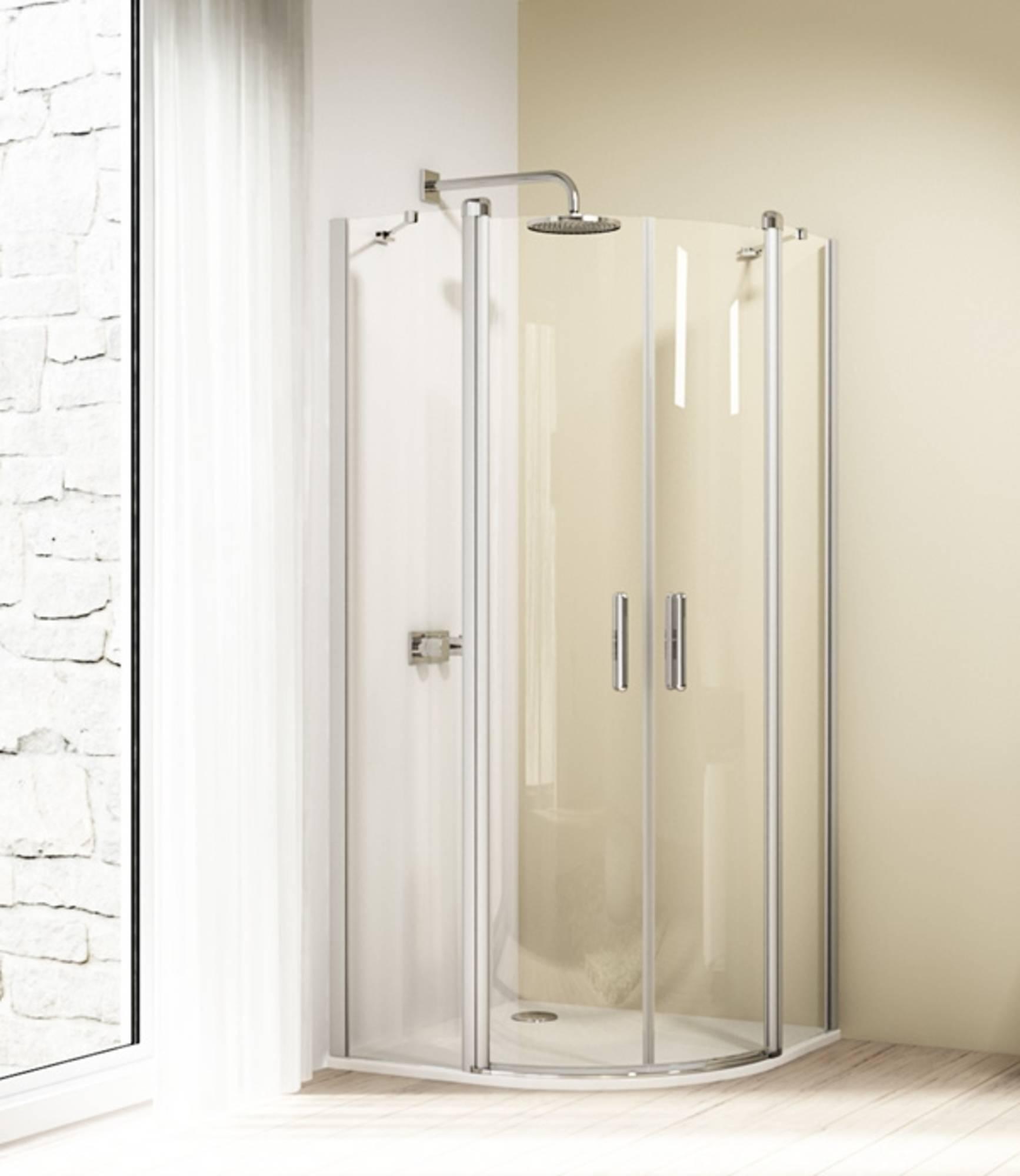 Huppe Design elegance 2-dlg.draaideur kwartrond helft 90x190 cm, matzilver-helder glas