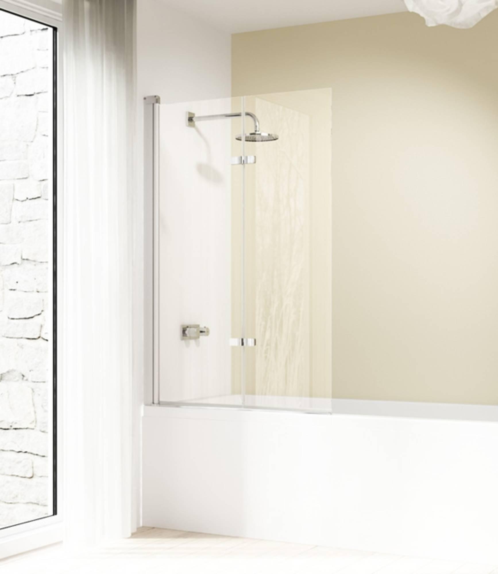 Huppe Design Elegance 2-delige badklapwand links 120x150 cm Matzilver-Helder Glas