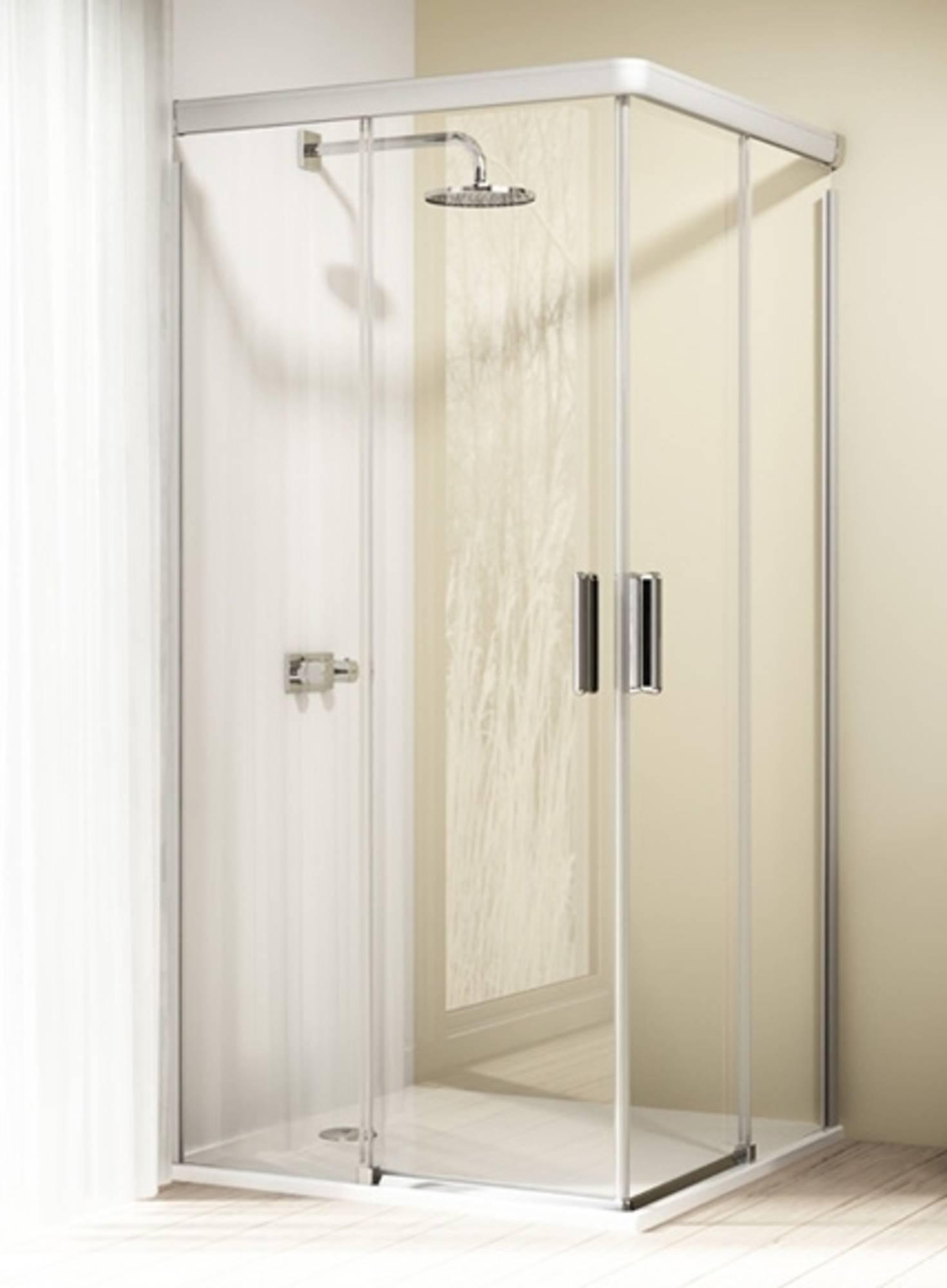 Huppe Design elegance 2-dlg.hoekinstap schuifdeur 80x80x200 cm, matzilver-helder glas