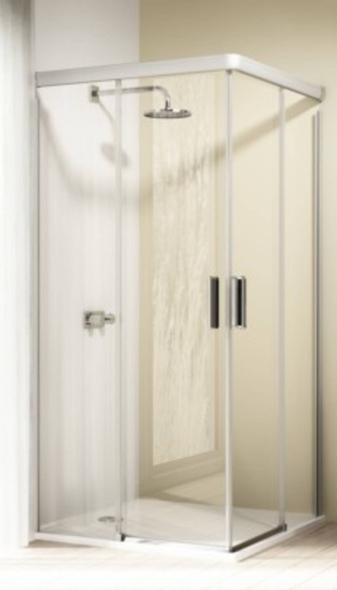 Huppe Design elegance hoekinstap met schuifdeur 90-90x200 cm, e2, matzilver-antiplaque glas