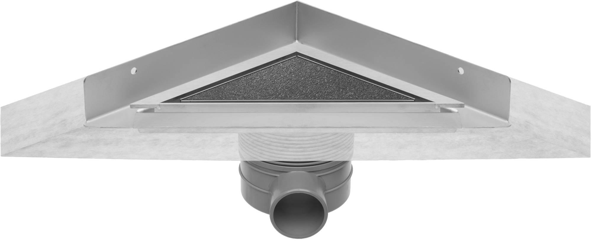 Easydrain Aqua jewels delta douchegoot 3-hoek 20x20cm,zij-uitl.30-35-50, tegel-rvs