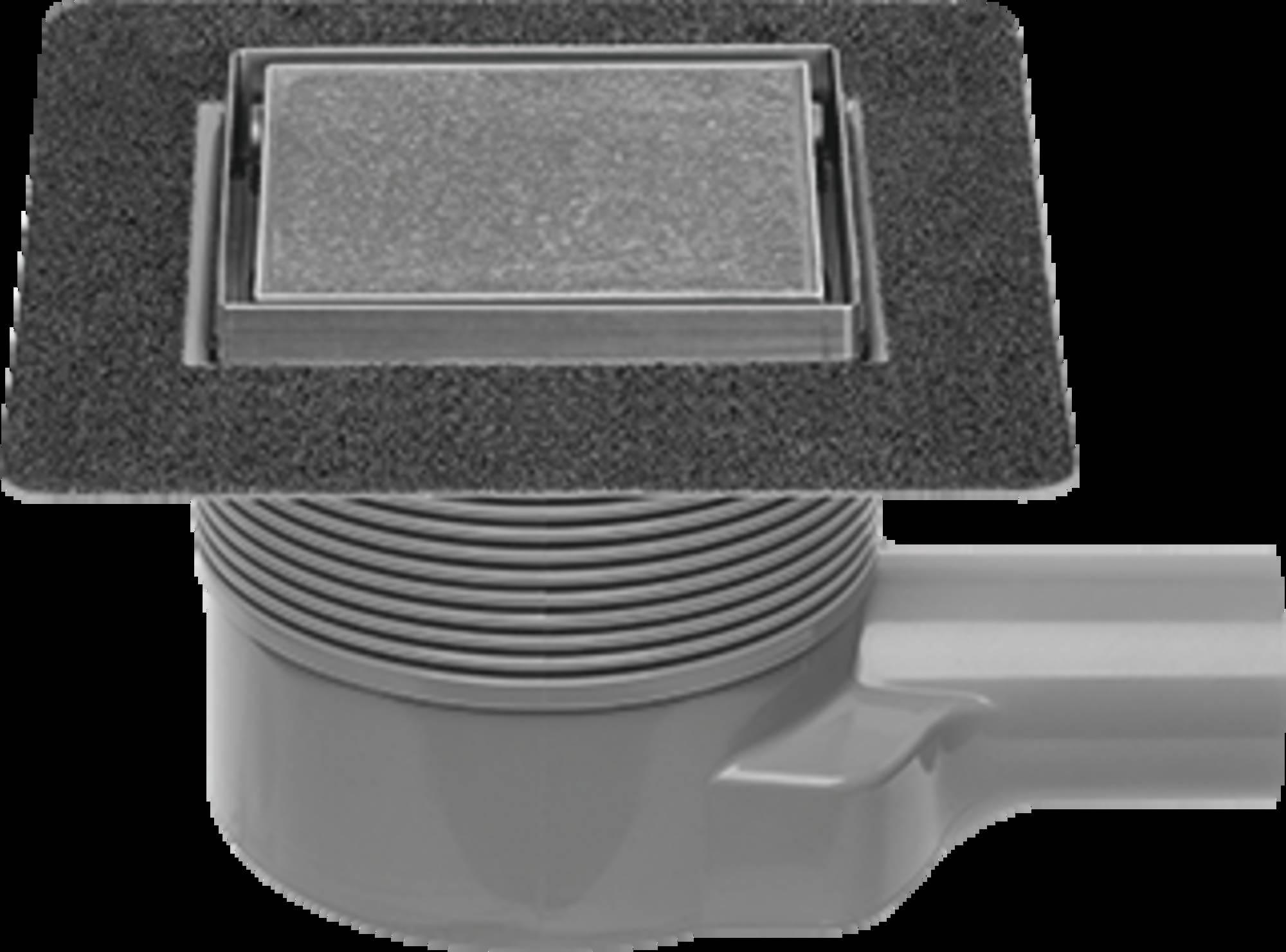 EASYDRAIN AQUA PLUS QUATTRO TEGEL vloerput 10 x 10 cm. met rooster msi-6 RVS GEBORSTELD (AQUAPLUS10X