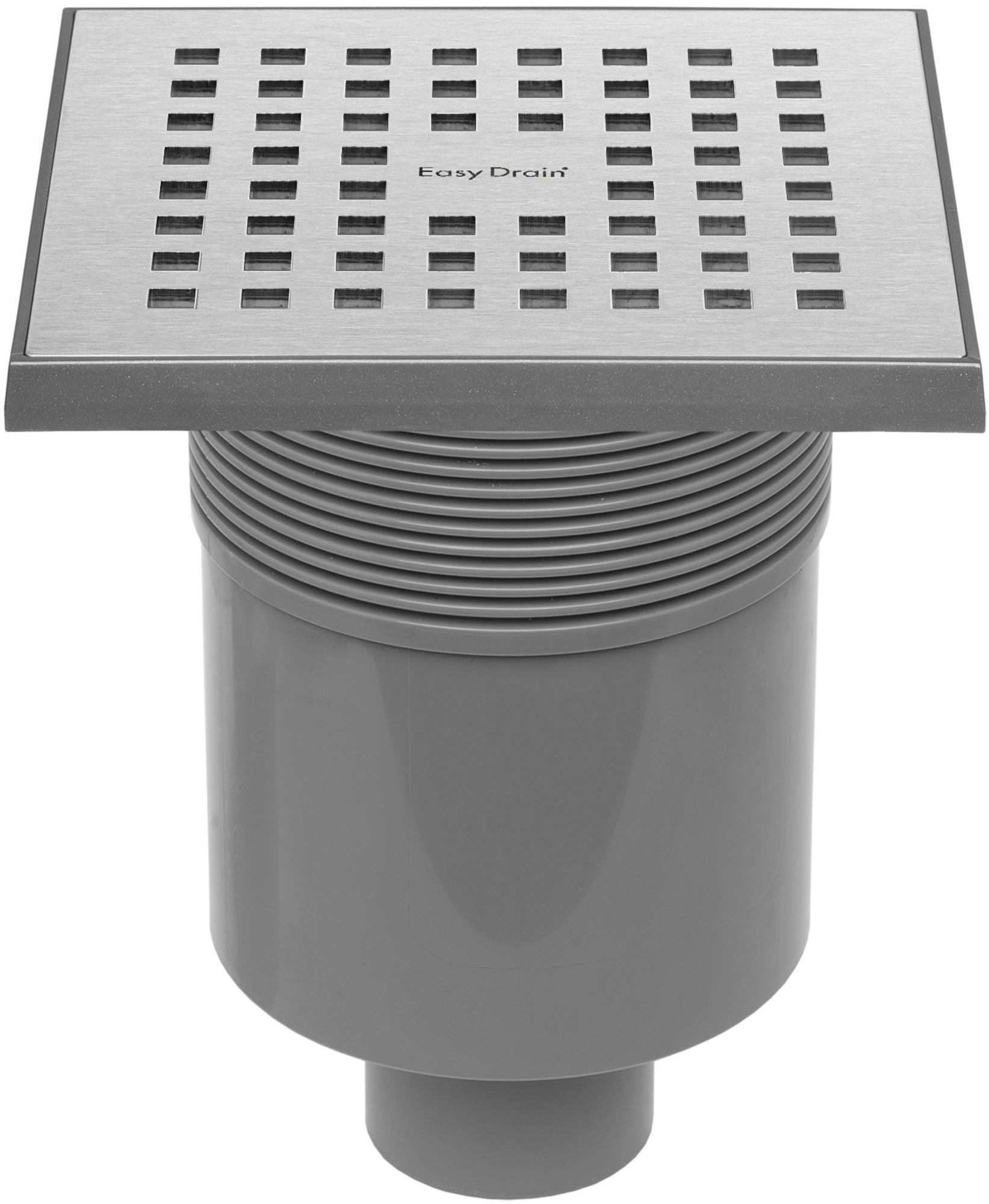 Easydrain Aqua quattro vloerput abs 15x15 cm, verticaal, rvs geborsteld
