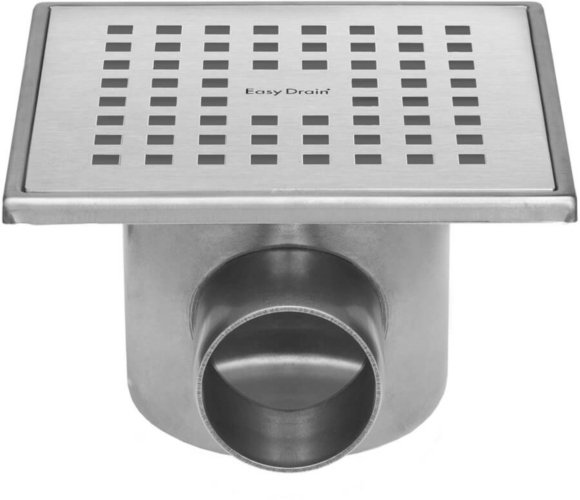 Easydrain Aqua plus quattro vloerput rvs 15x15 cm, horizontaal, rvs