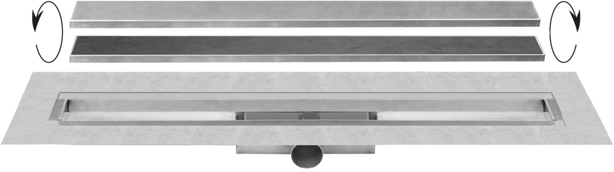 Easydrain Compact 30 taf afvoergoot 120 cm,rooster als zero of tegel design, rvs