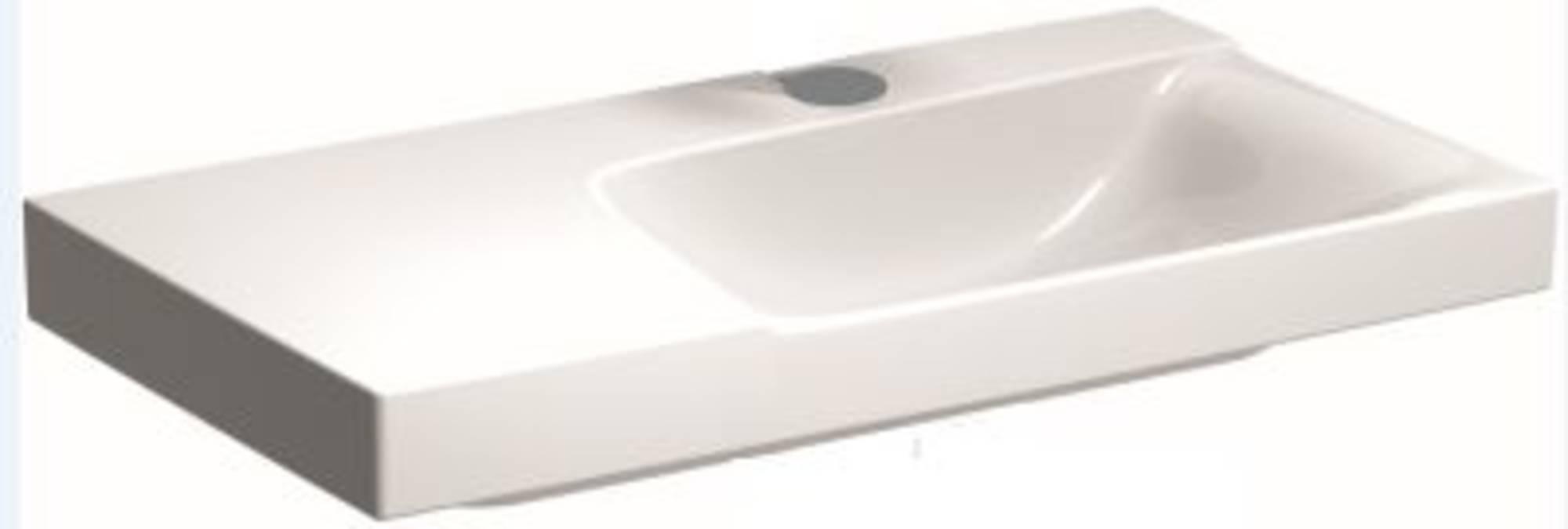 Sphinx Serie 420 New wastafel rechts 90x48 cm afleg links 1x kraangat Wit