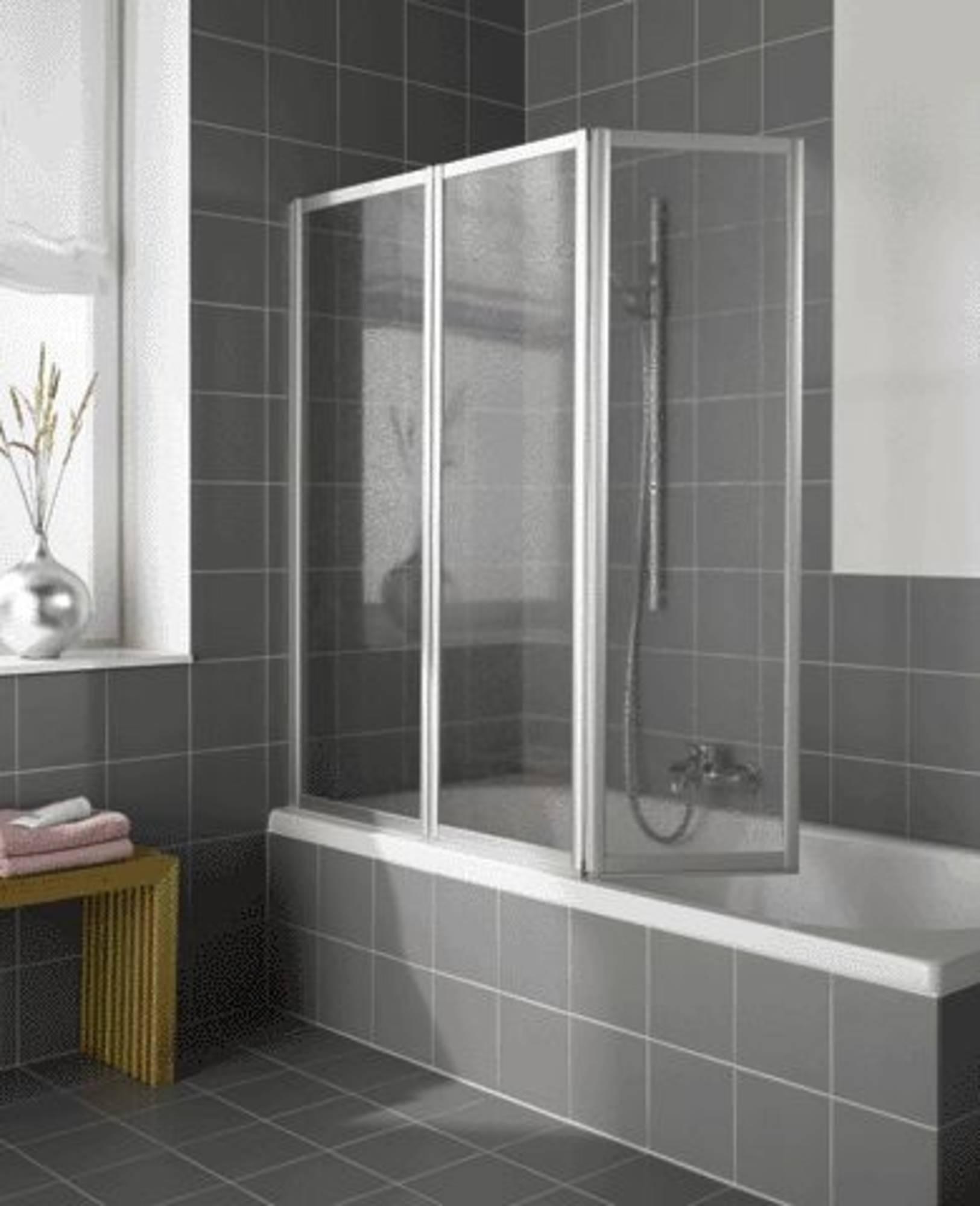 Kermi Vario badklapwand 3-delig 140 cm kunst parel Wit Ral 9016