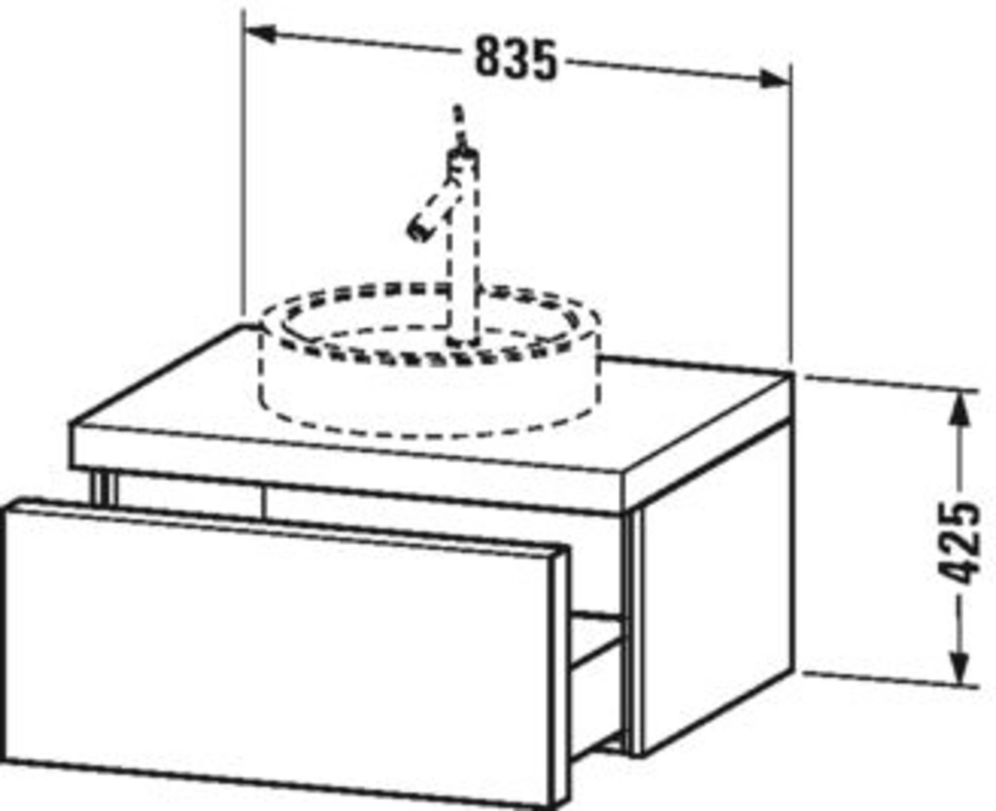 Duravit Starck I onderkast 1 lade  83,5x56,5x42,5 cm Amerikaans Noten