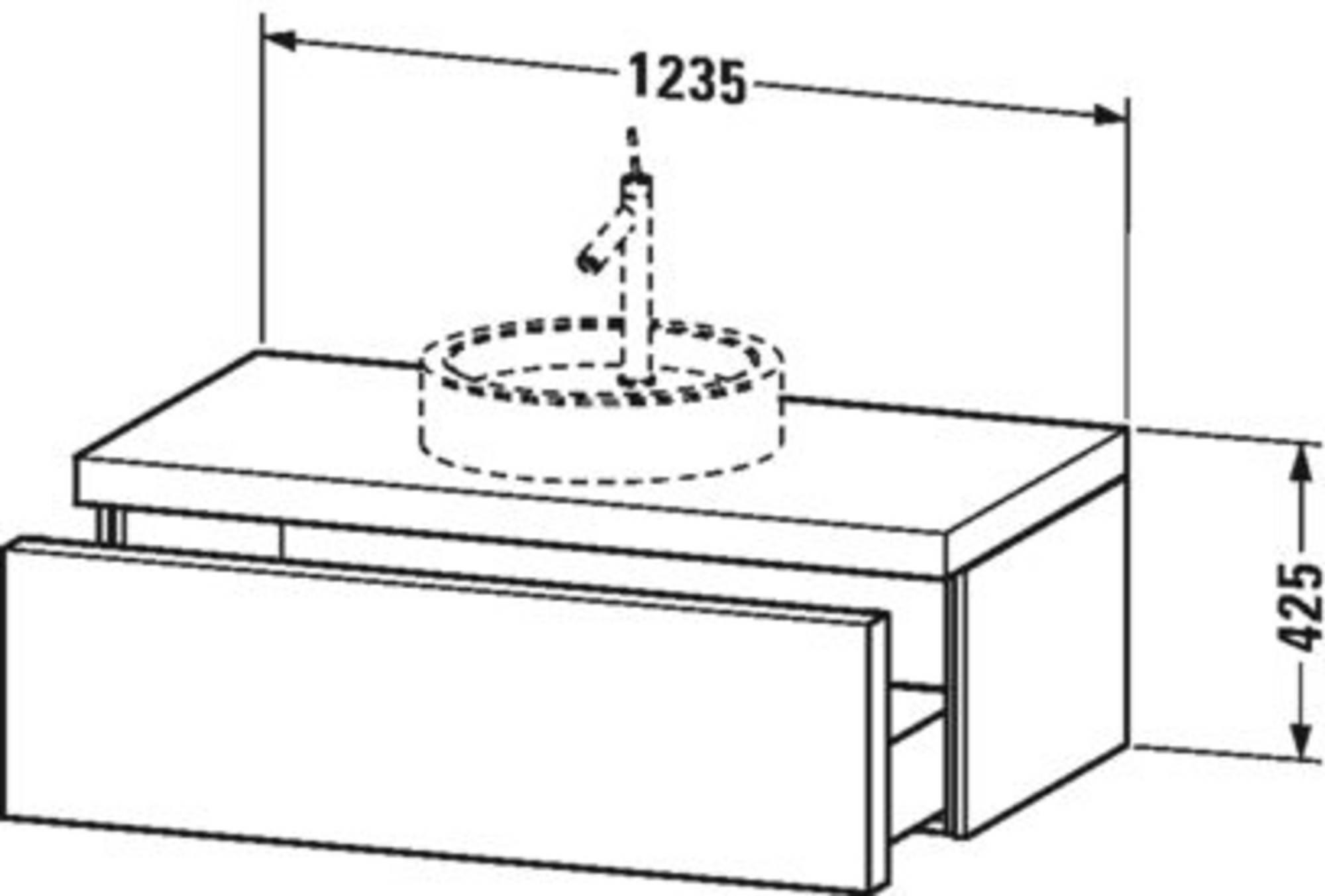 Duravit Starck 1 onderkast 1 lade 1 uitsparing rechts 123,5x56,5x42,5 cm Zwart Hoogglans