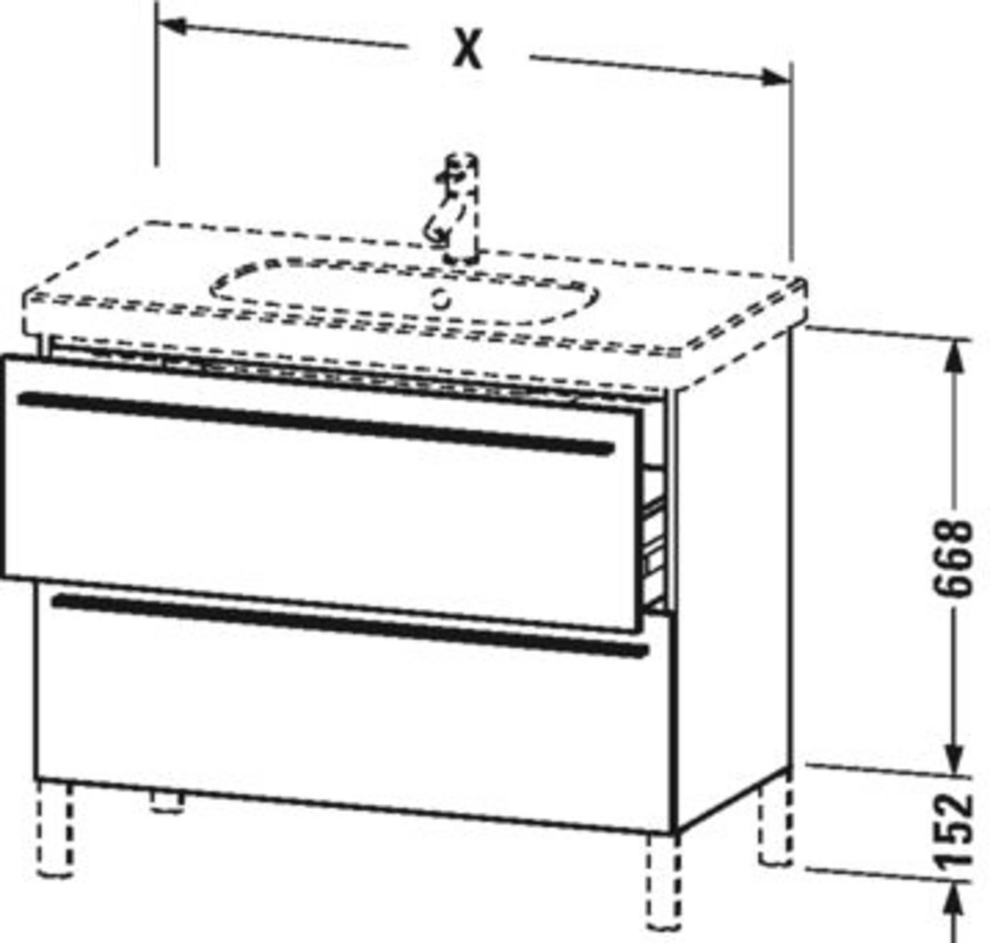 Duravit X-Large wastafelonderkast 2 laden voor D-Code 80x47x66,8 cm Flanel grijs zijdemat