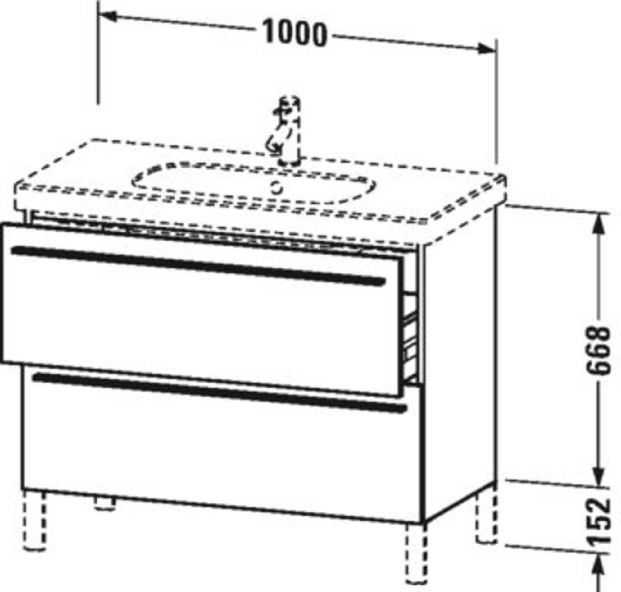 Duravit X-Large wastafelonderkast 2 laden voor D-Code 100x47x66,8 cm Wit hoogglans