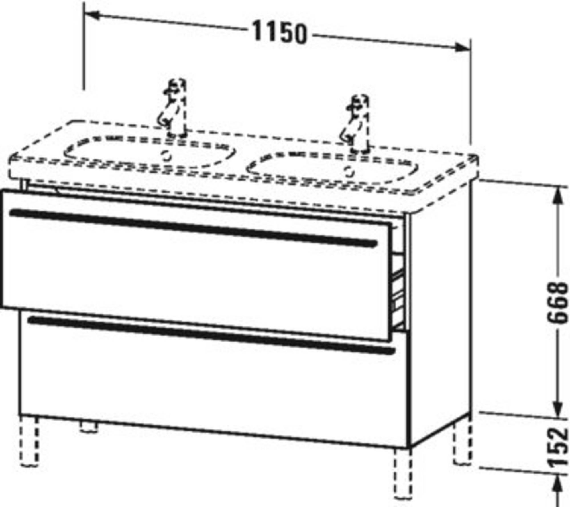 Duravit X-Large wastafelonderkast 2 laden voor D-Code 115x47x66,8 cm Wit lila hoogglans