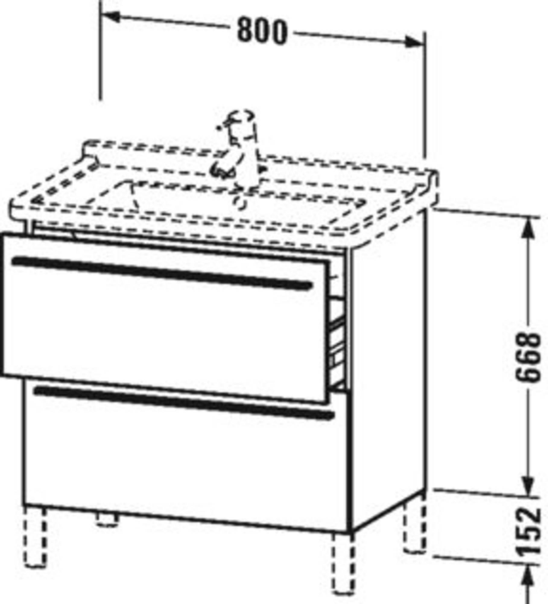 Duravit X-Large wastafelonderkast 2 laden voor Starck 3 80x47x66,8 cm Dolomitri grijs hoogglans