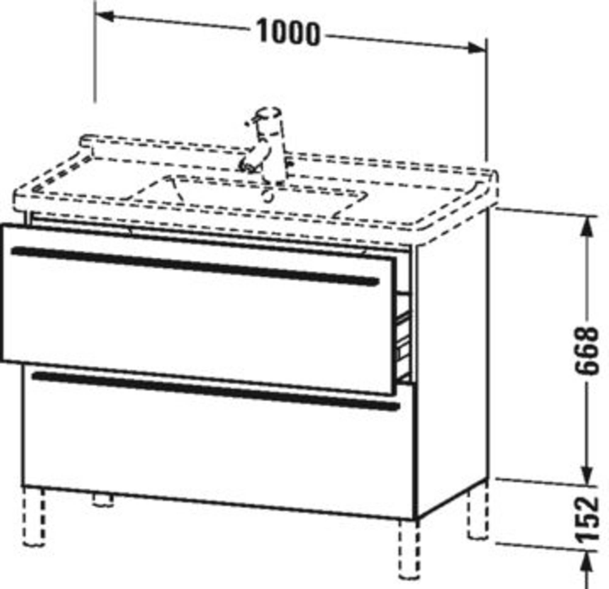 Duravit X-Large wastafelonderkast 2 laden voor Starck 3 100x47x66,8 cm Pine silver
