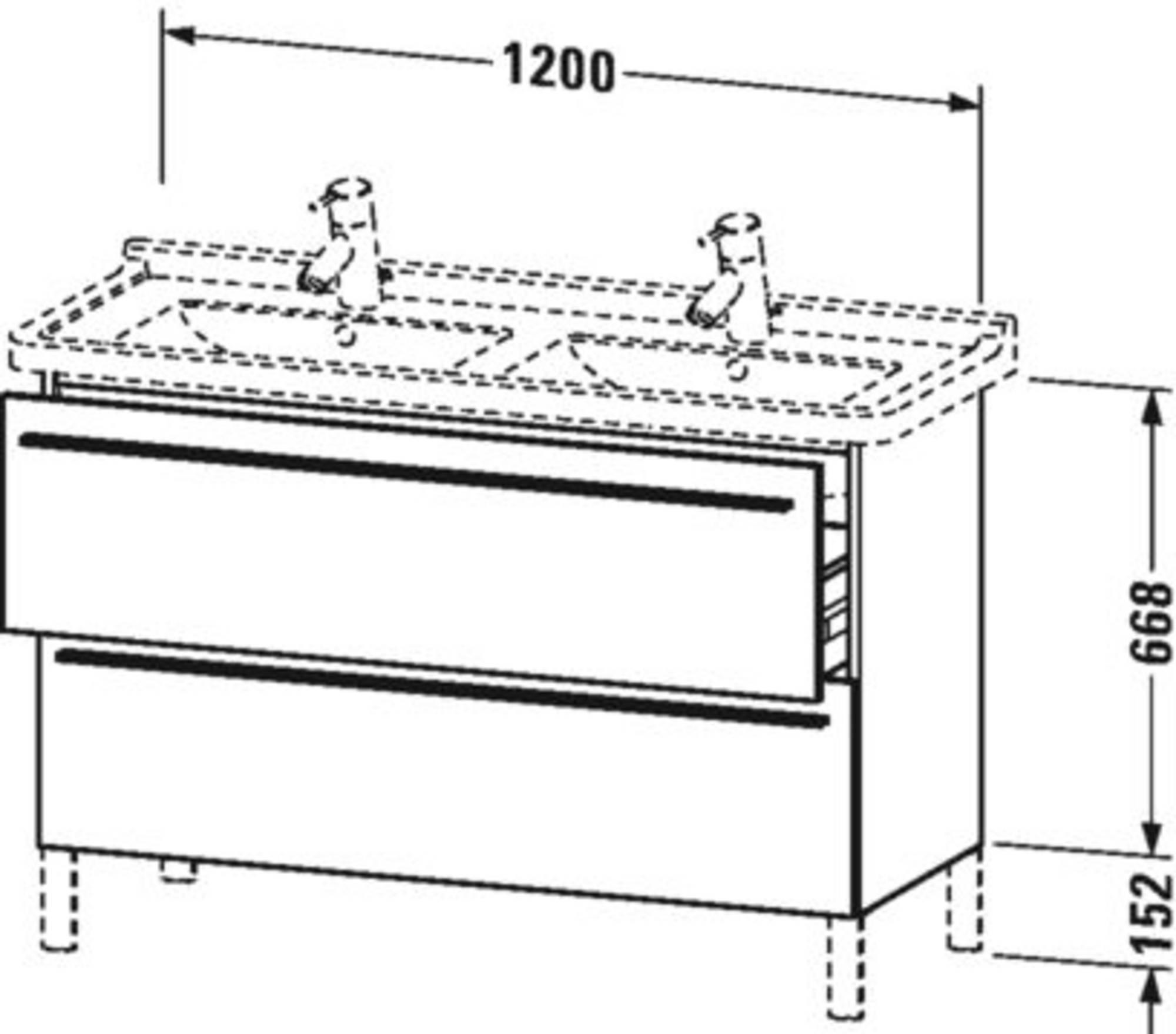 Duravit X-Large wastafelonderkast 2 laden voor Starck 3 120x47x66,8 cm Wit lila zijdemat