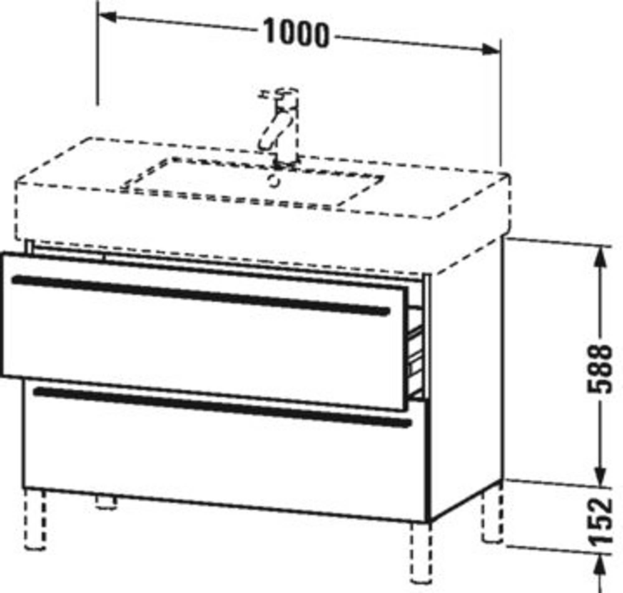 Duravit X-Large wastafelonderkast 2 laden voor Vero 100x47x58,8 cm Stone blue hoogglans