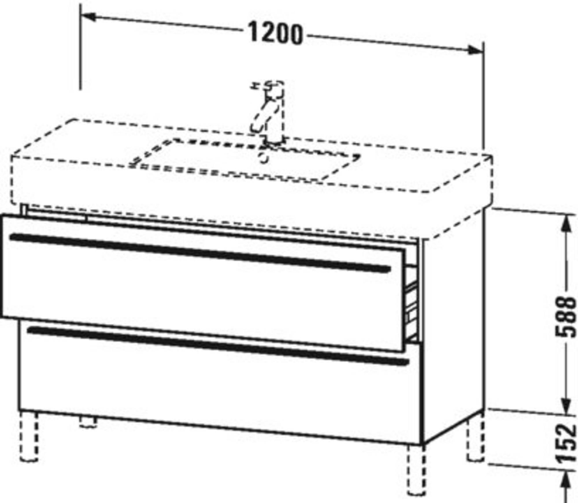 Duravit X-Large wastafelonderkast 2 laden voor Vero 120x47x58,8 cm Basalt mat