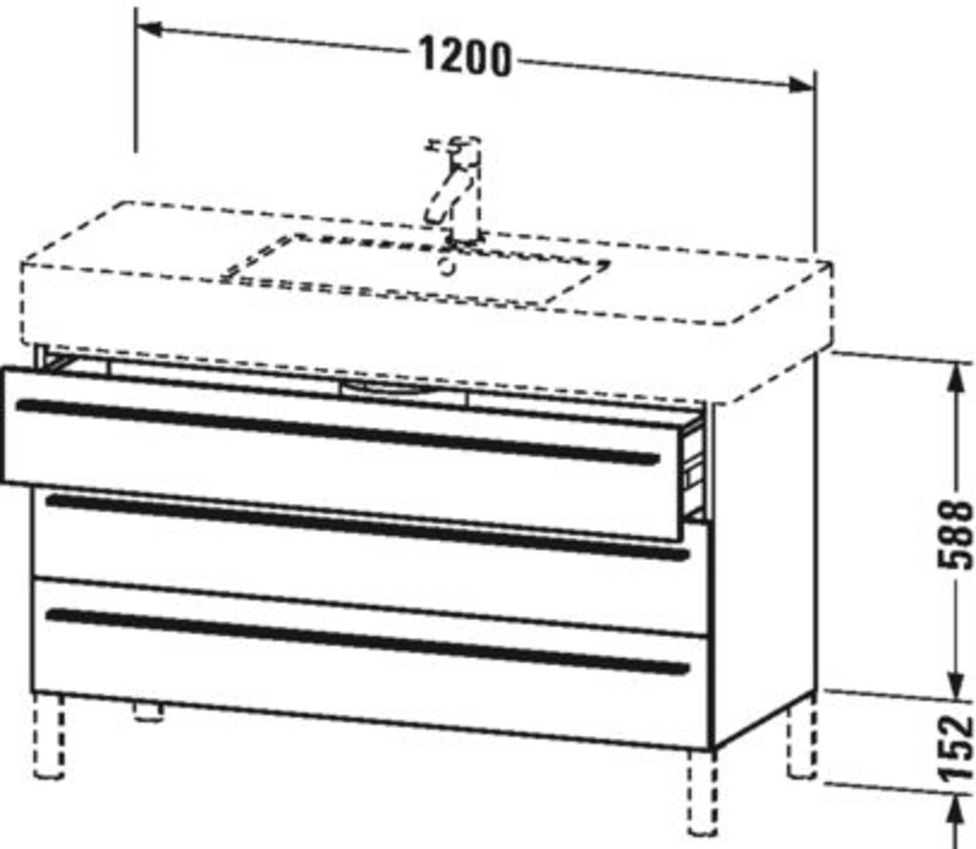 Duravit X-Large wastafelonderkast 3 laden voor Vero 120x47x58,8 cm Ticino kersen