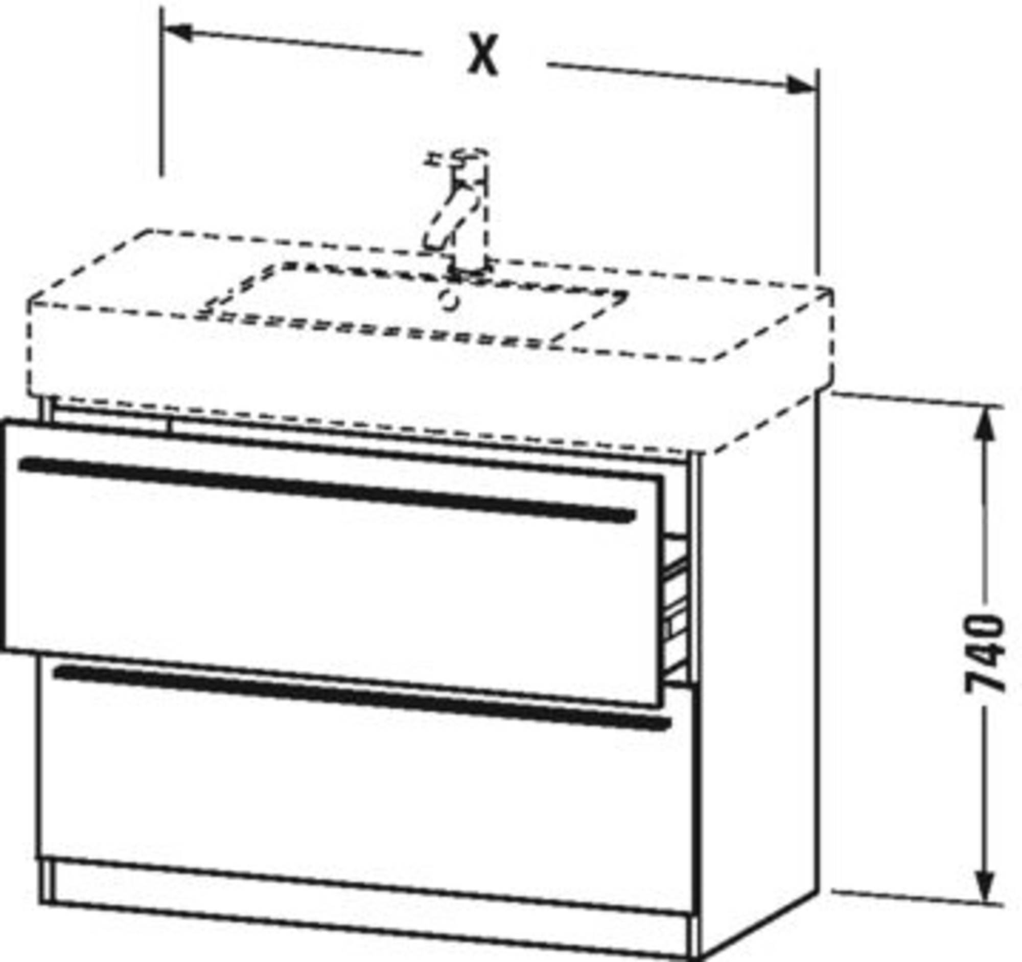 Duravit X-Large wastafelonderkast 2 laden voor Vero 80x47x74 cm Grafiet mat