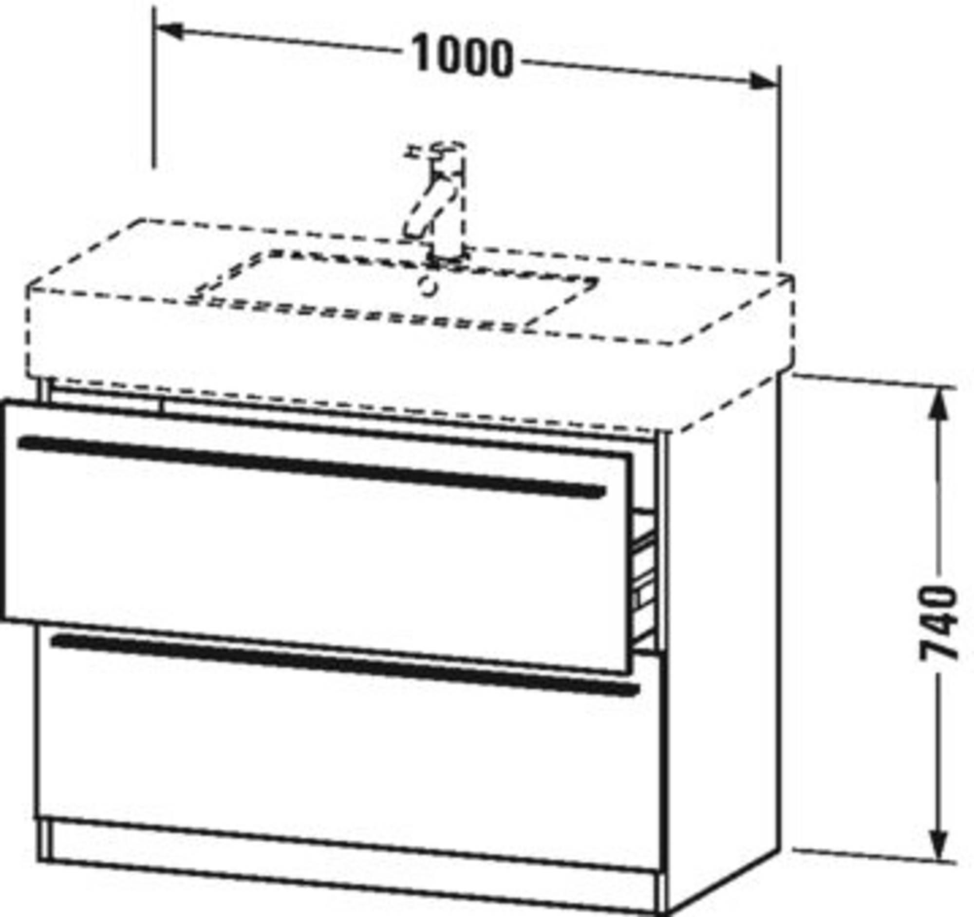 Duravit X-Large wastafelonderkast 2 laden voor Vero 100x47x74 cm Amerikaans noten